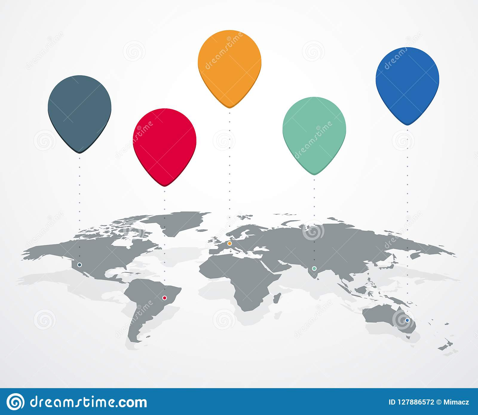 Blank World Map With Location Labels Stock Vector Illustration Of