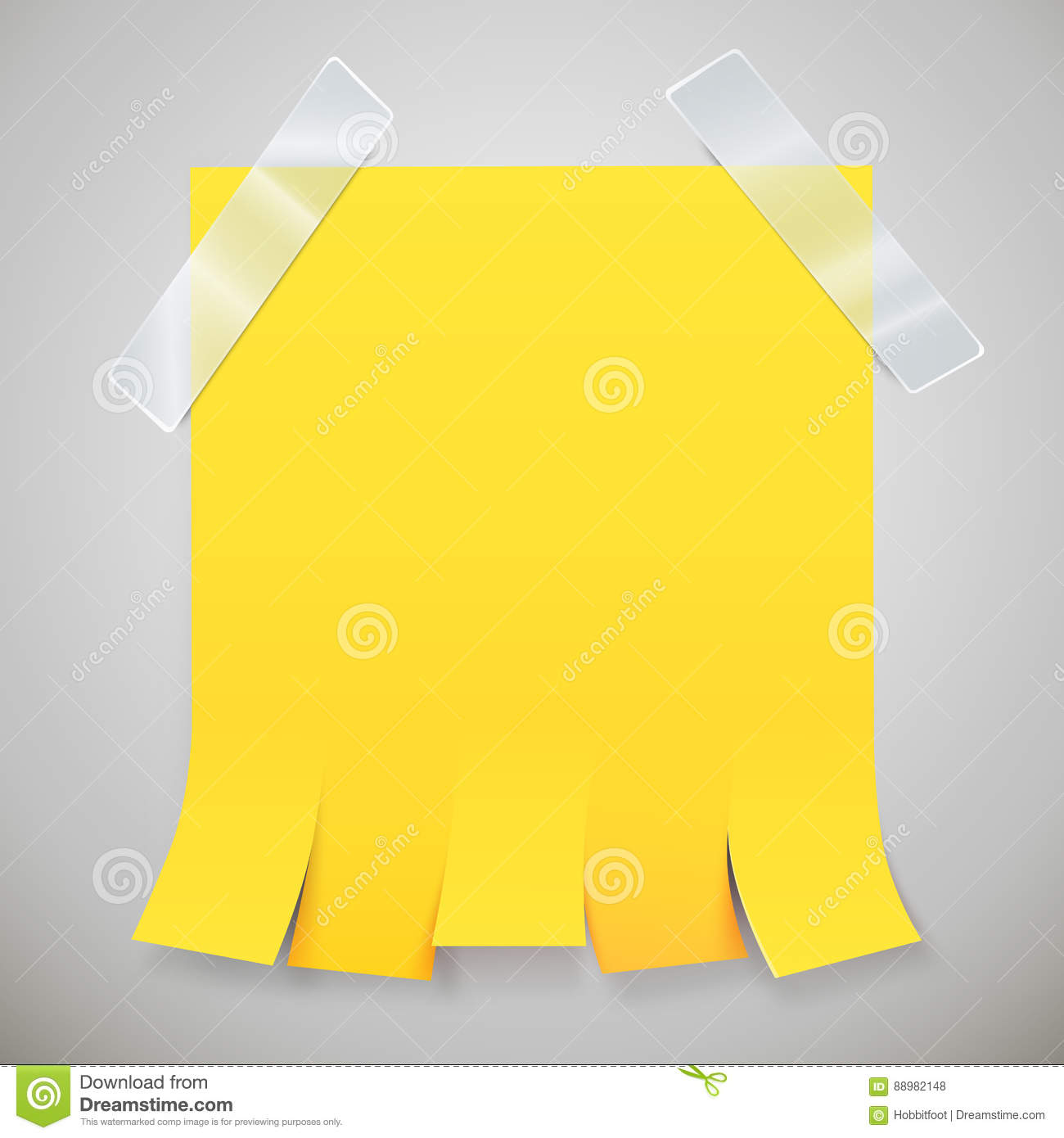 blank yellow advertisement with tear off tabs and adhesive tape