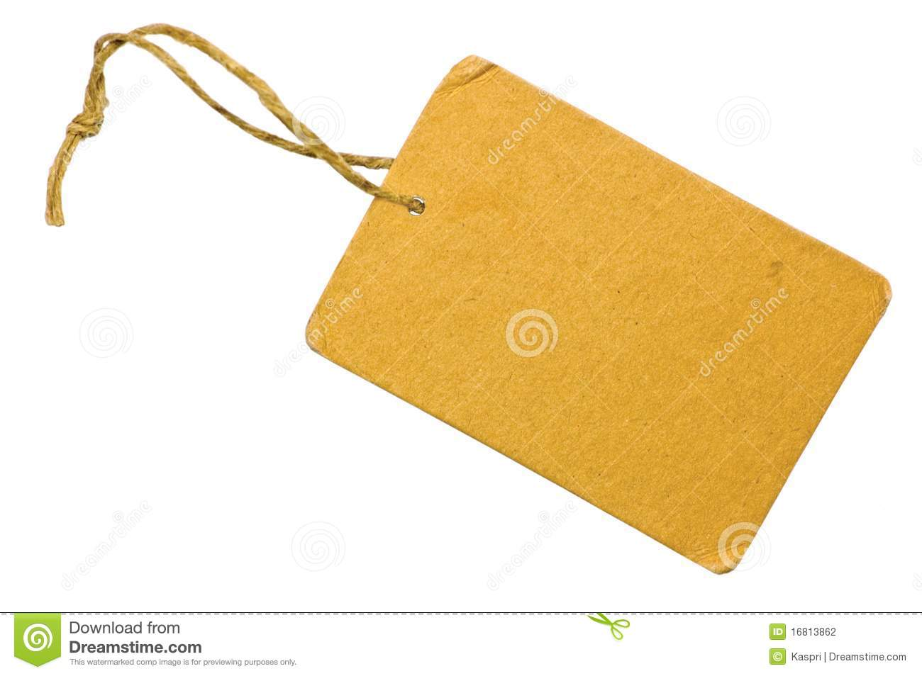 Tag: Blank Yellow Cardboard Sale Tag Label Isolated Stock Photo