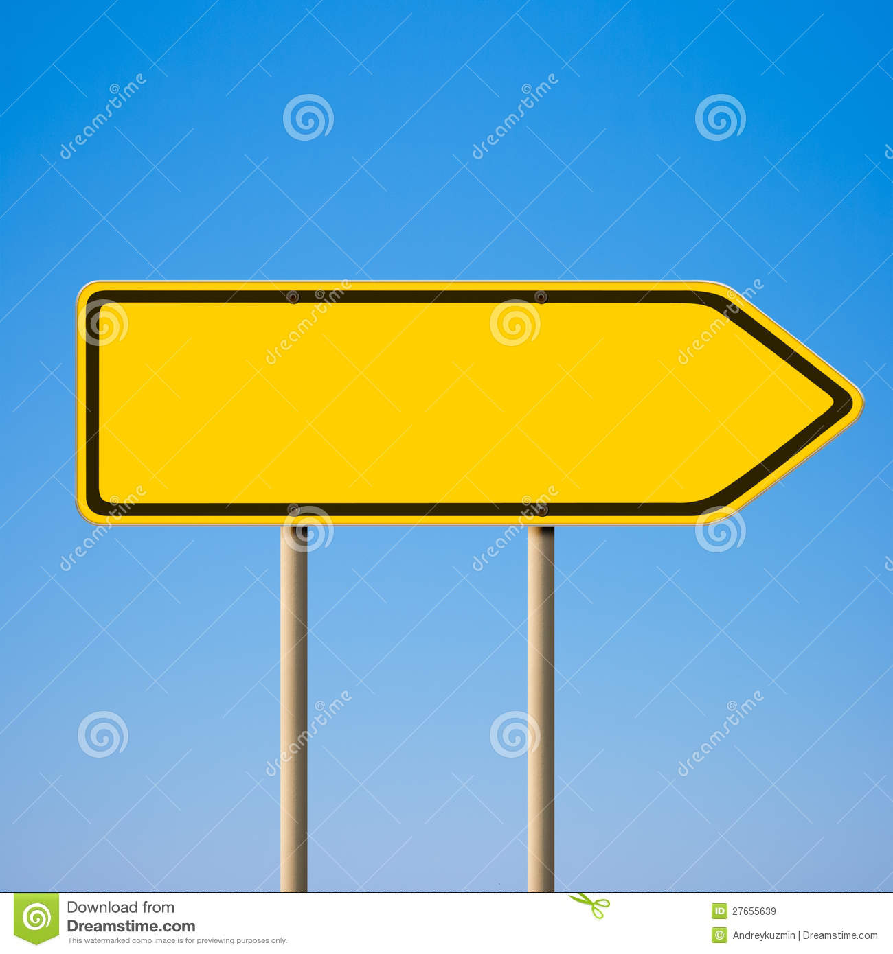 Blank Yellow Road Sign Direction Pointer Royalty Free