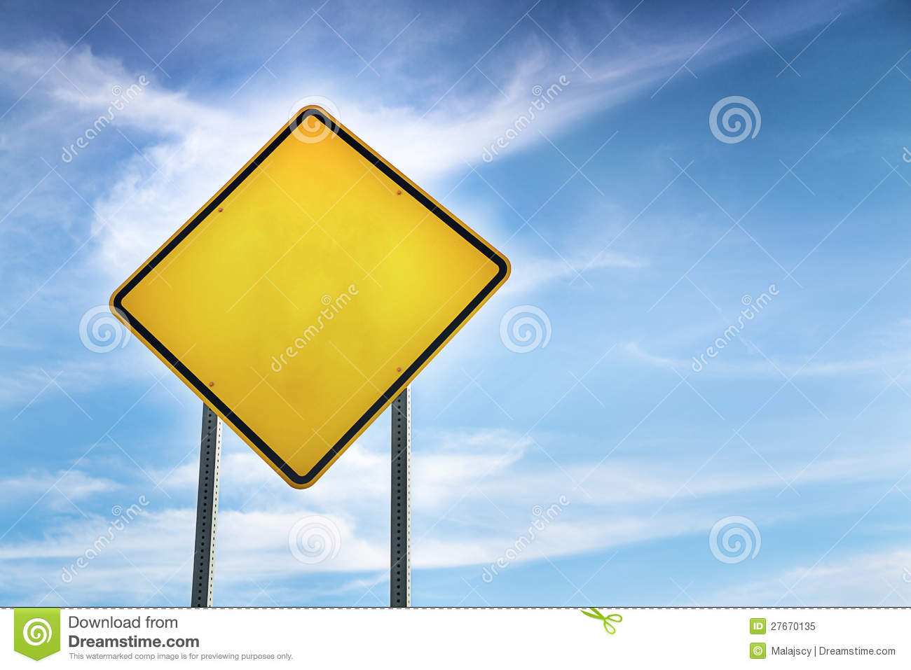Warning Road Sign Blank  Yellow Road Warning