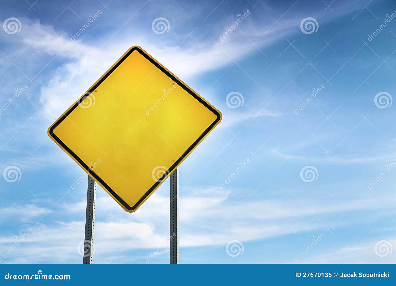 Warning Road Sign Blank  Yellow Road Warning