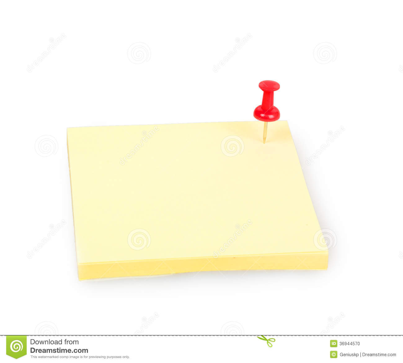 Blank yellow sticky note with red push pin