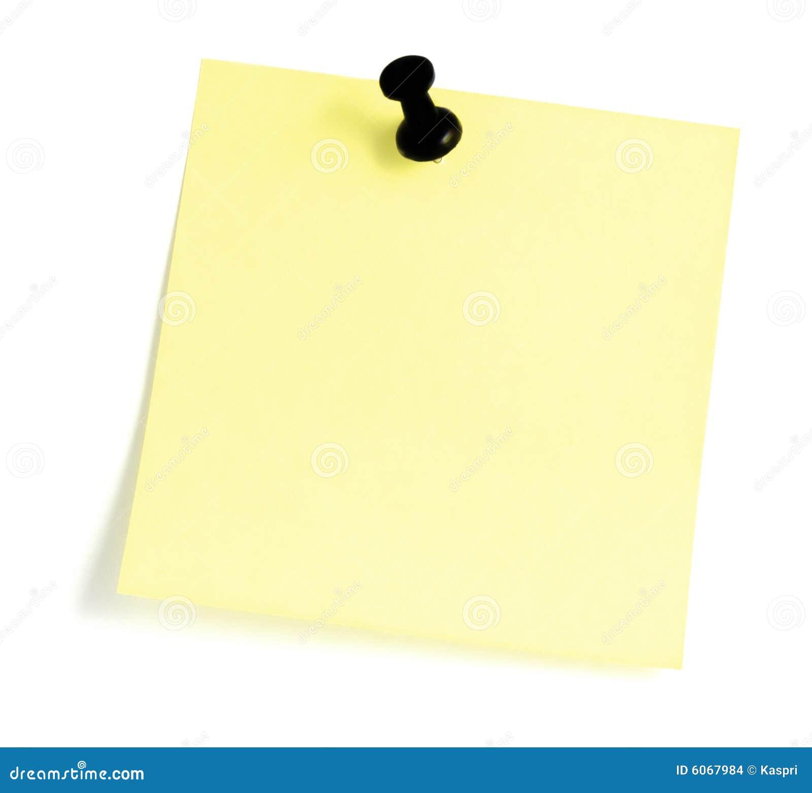 Blank Yellow Sticky post it Note List Black