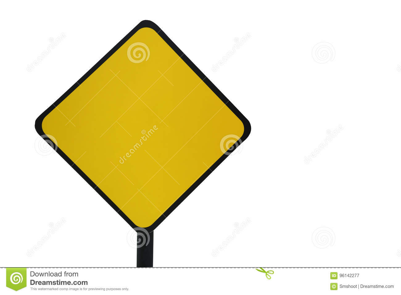 Blank Yellow Traffic Sign Template On White Background Stock Image ...
