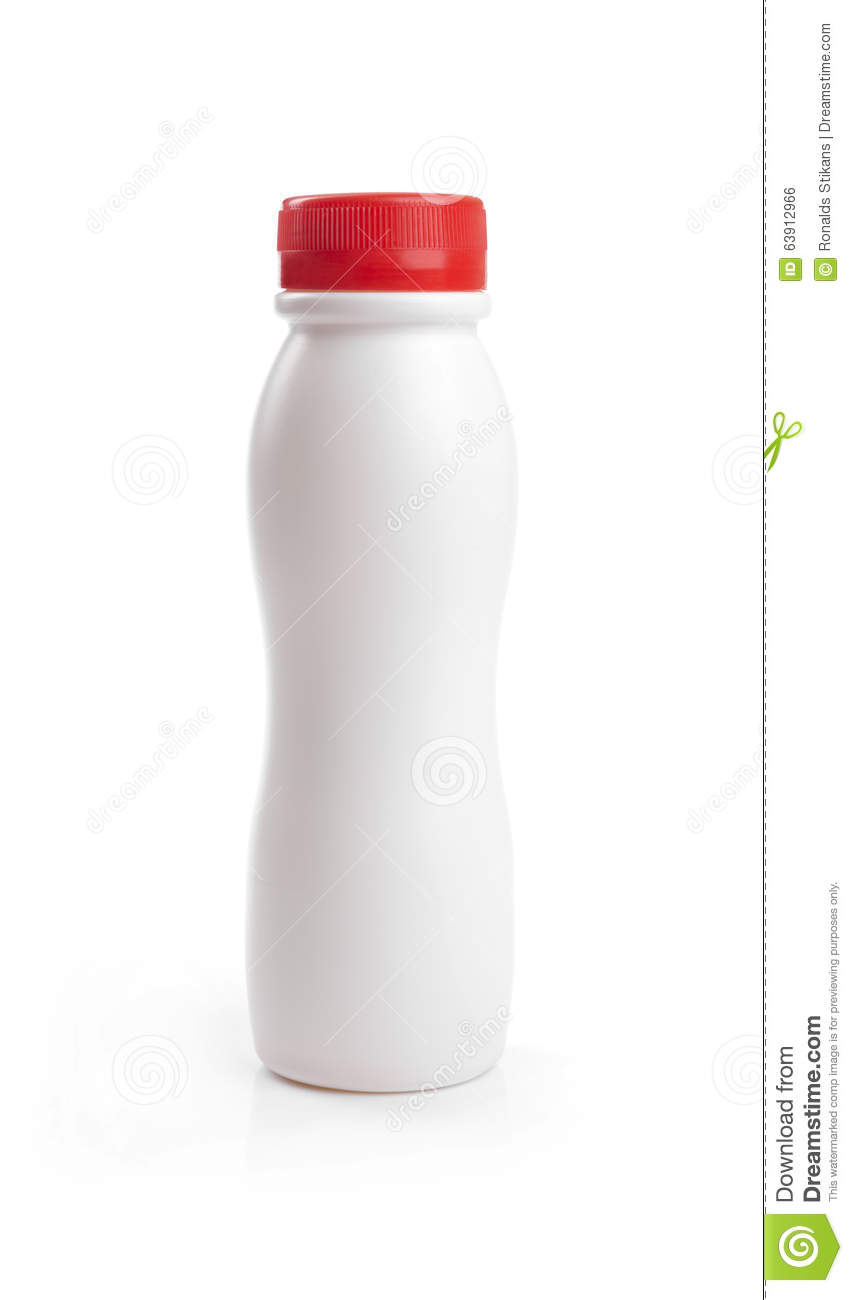 blank yogurt drink bottle with red cap isolated on white stock photo