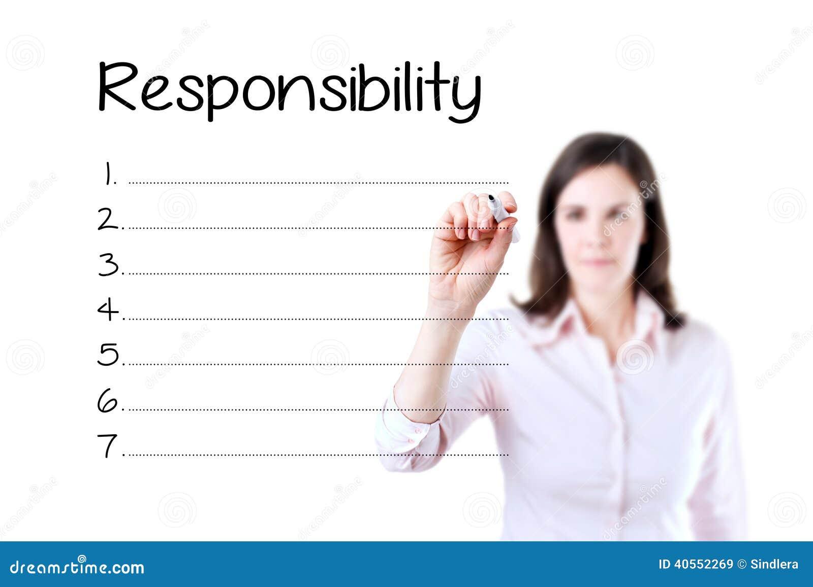 Blanko för lista för ansvar för handstil för affärskvinna Isolerat på vit