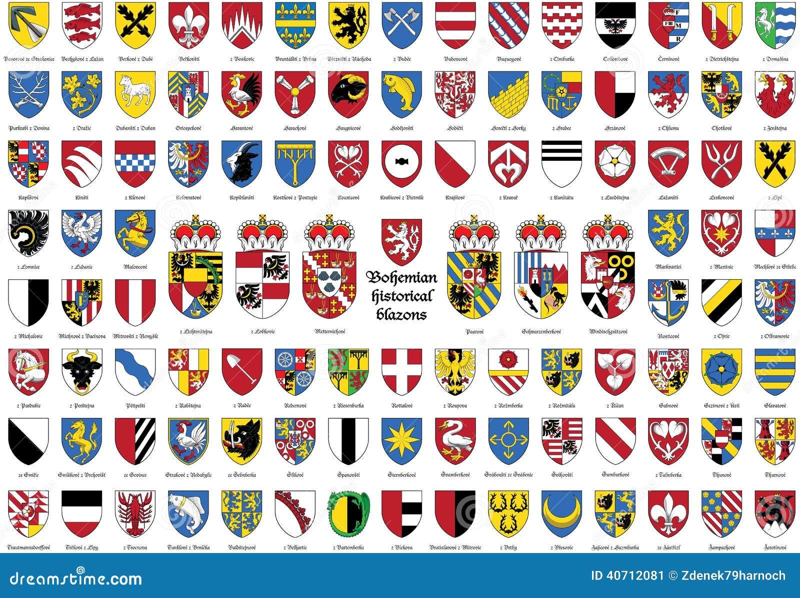 Blasons historiques de Bohème, manteau de Tchèques des bras,