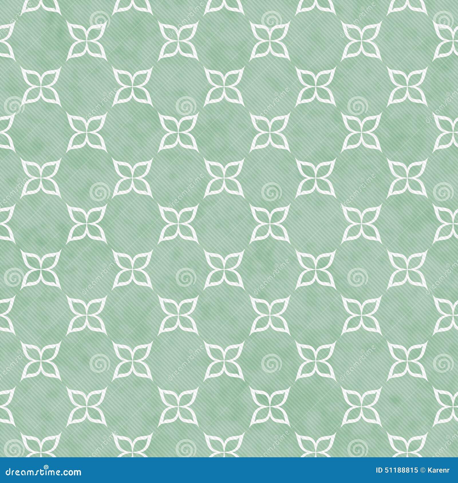 Download Blasse E Grün Und Weiße Blumen Symbol Fliesen Muster Wiederholung
