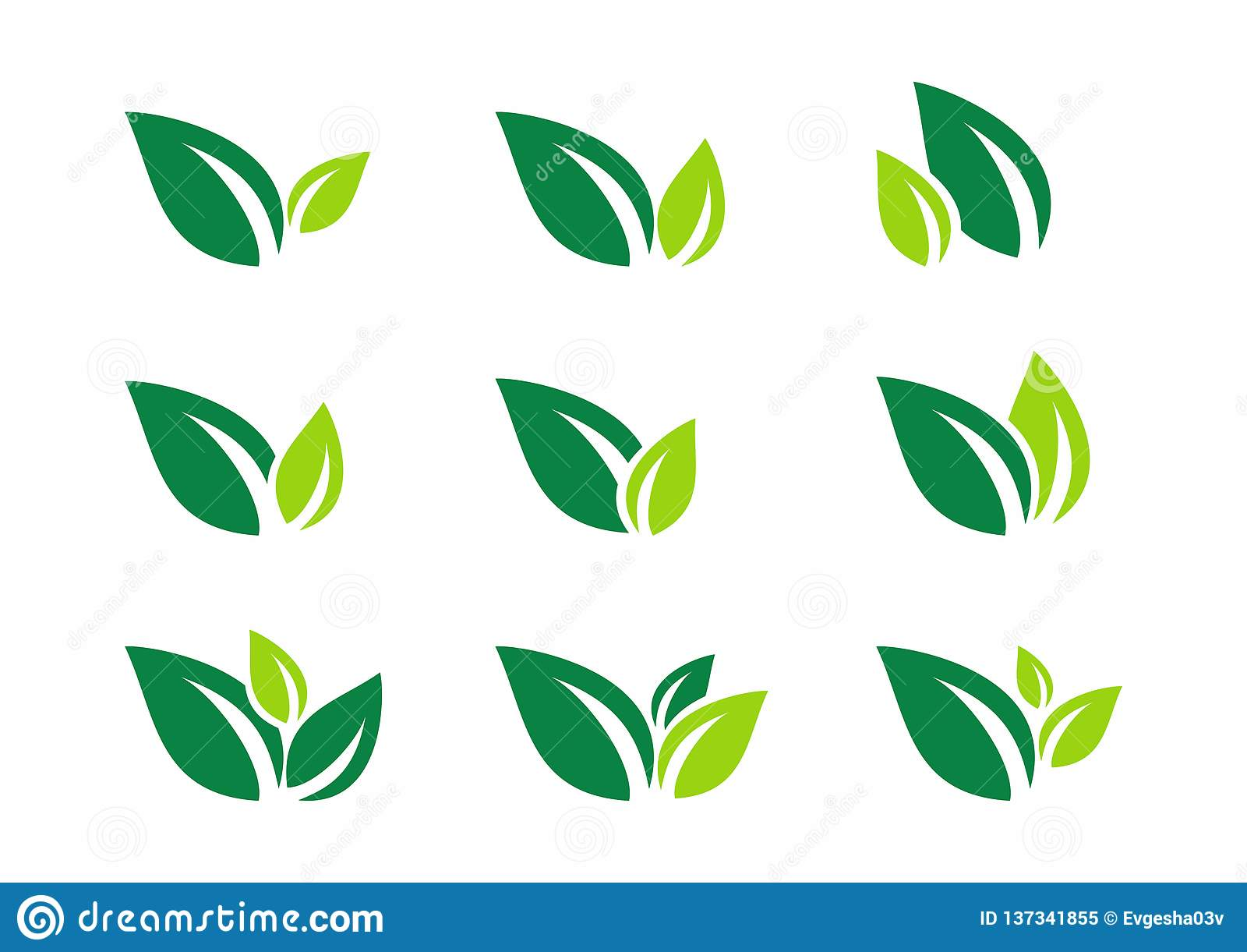 Blatt, Anlage, Logo, Ökologie, Wellness, Grün, Blätter, Natursymbol-Ikonensatz von Vektorentwürfen