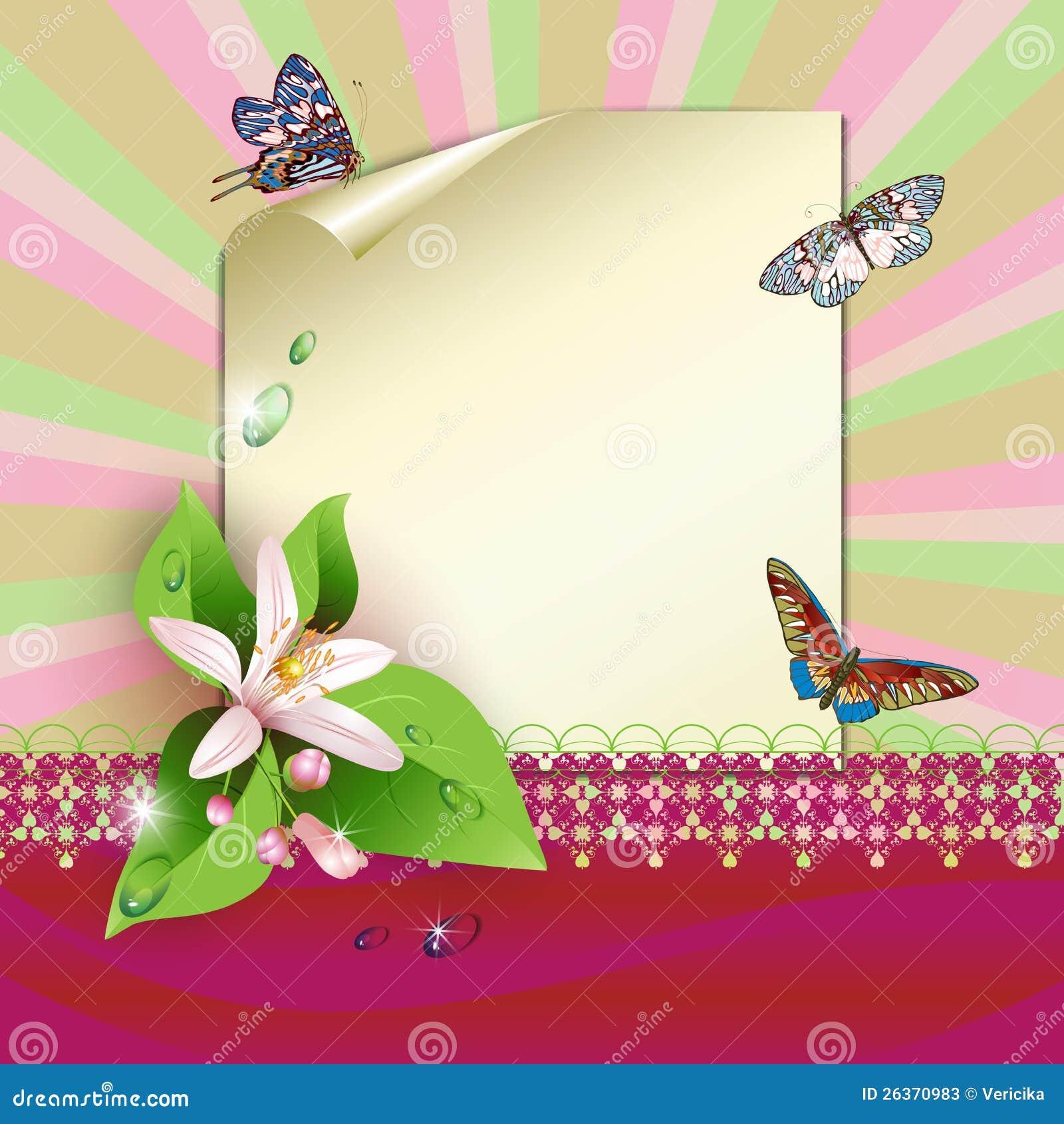 Blatt Papier und Blumen
