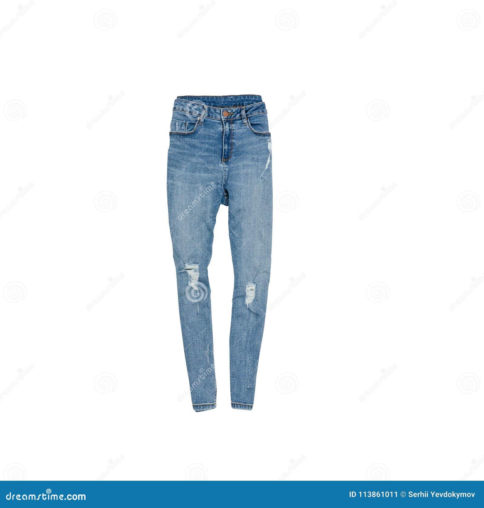 868589acf26c50 Blau zerrissene Jeans modernes Konzept Getrennt Weißer Hintergrund