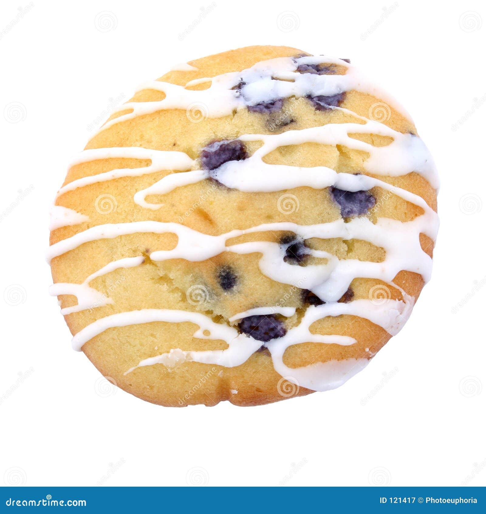 Blaubeere-Muffin-Plätzchen über Weiß mit Vereisung