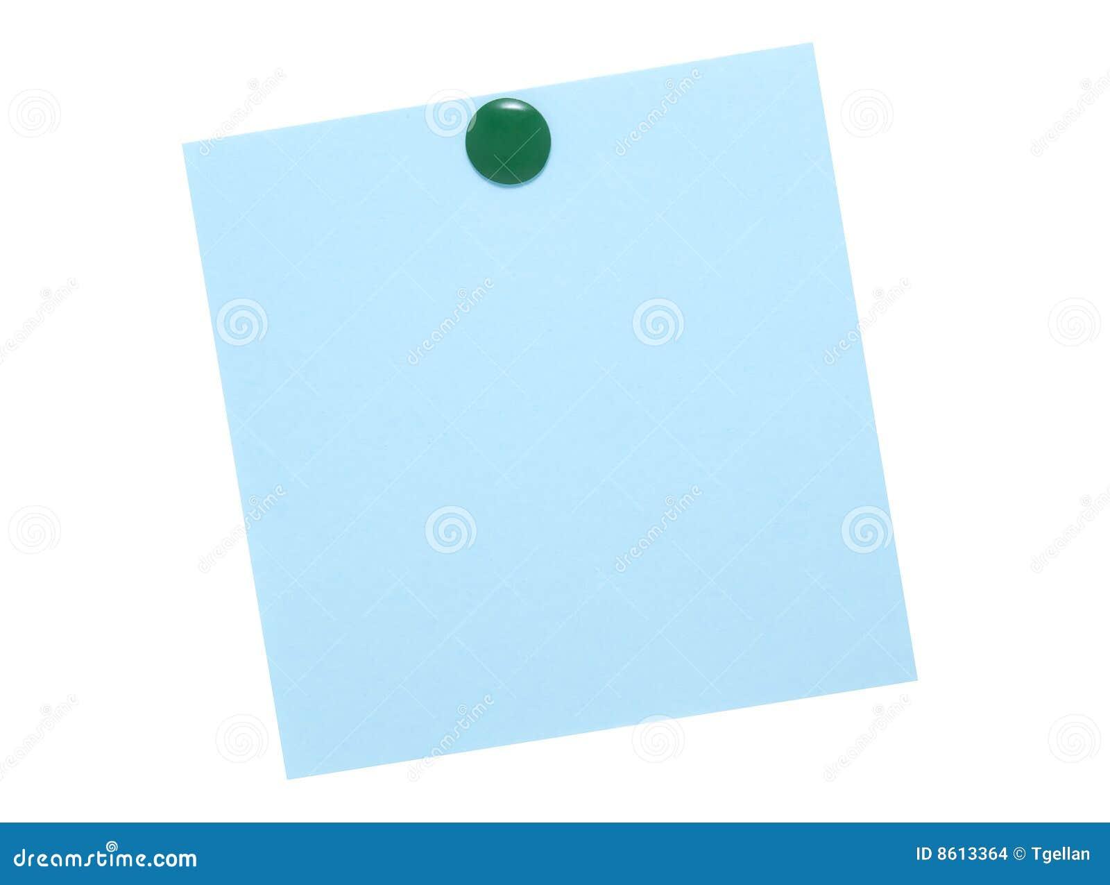 Blaue Anmerkung mit grünem Stift