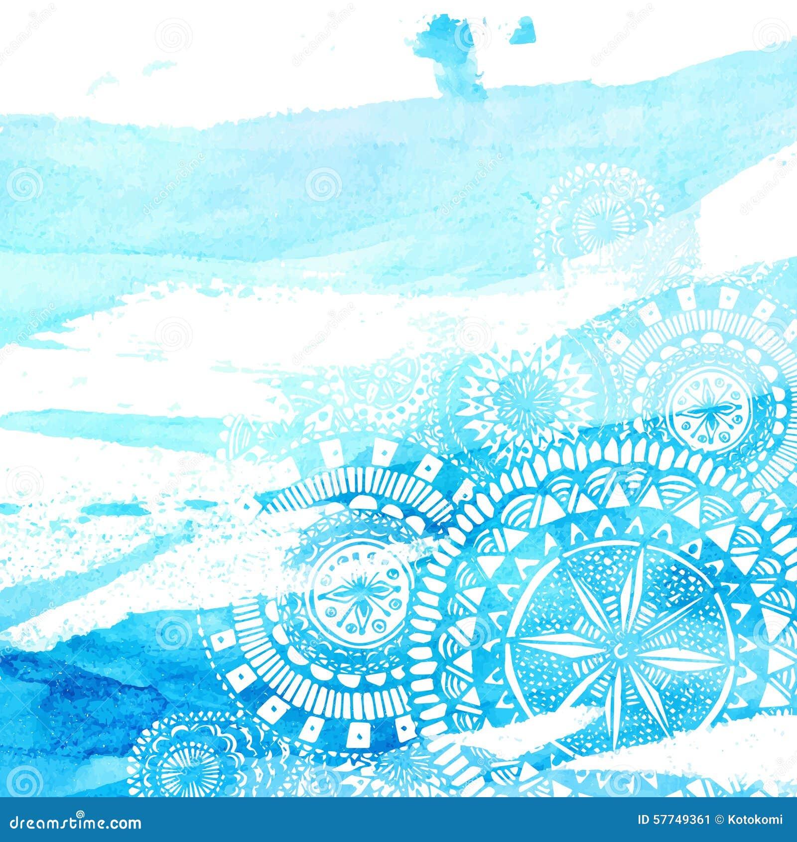 Blaue Aquarellbürstenanschläge mit der weißen Hand