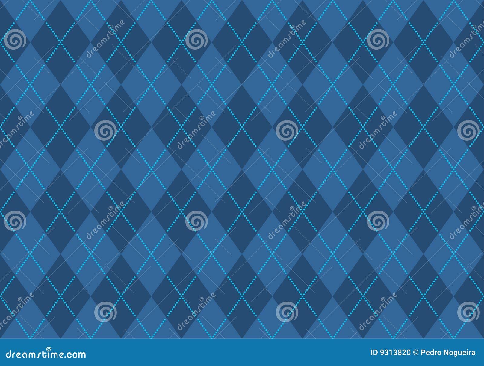 Blaue Argyle Tapete Stockfoto - Bild: 9313820