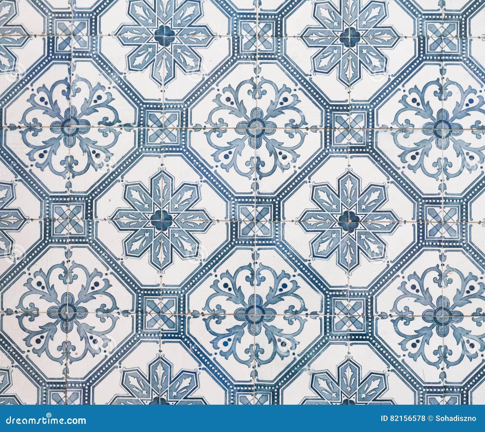Blaue Fliesen: Blaue Azulejos, Alte Fliesen In Der Alten Stadt Von