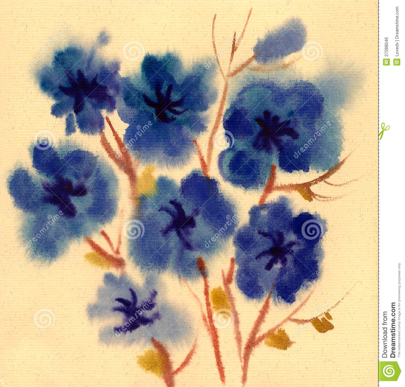blaue blumen gemalt im aquarell stock abbildung illustration von nave blau 27288046. Black Bedroom Furniture Sets. Home Design Ideas