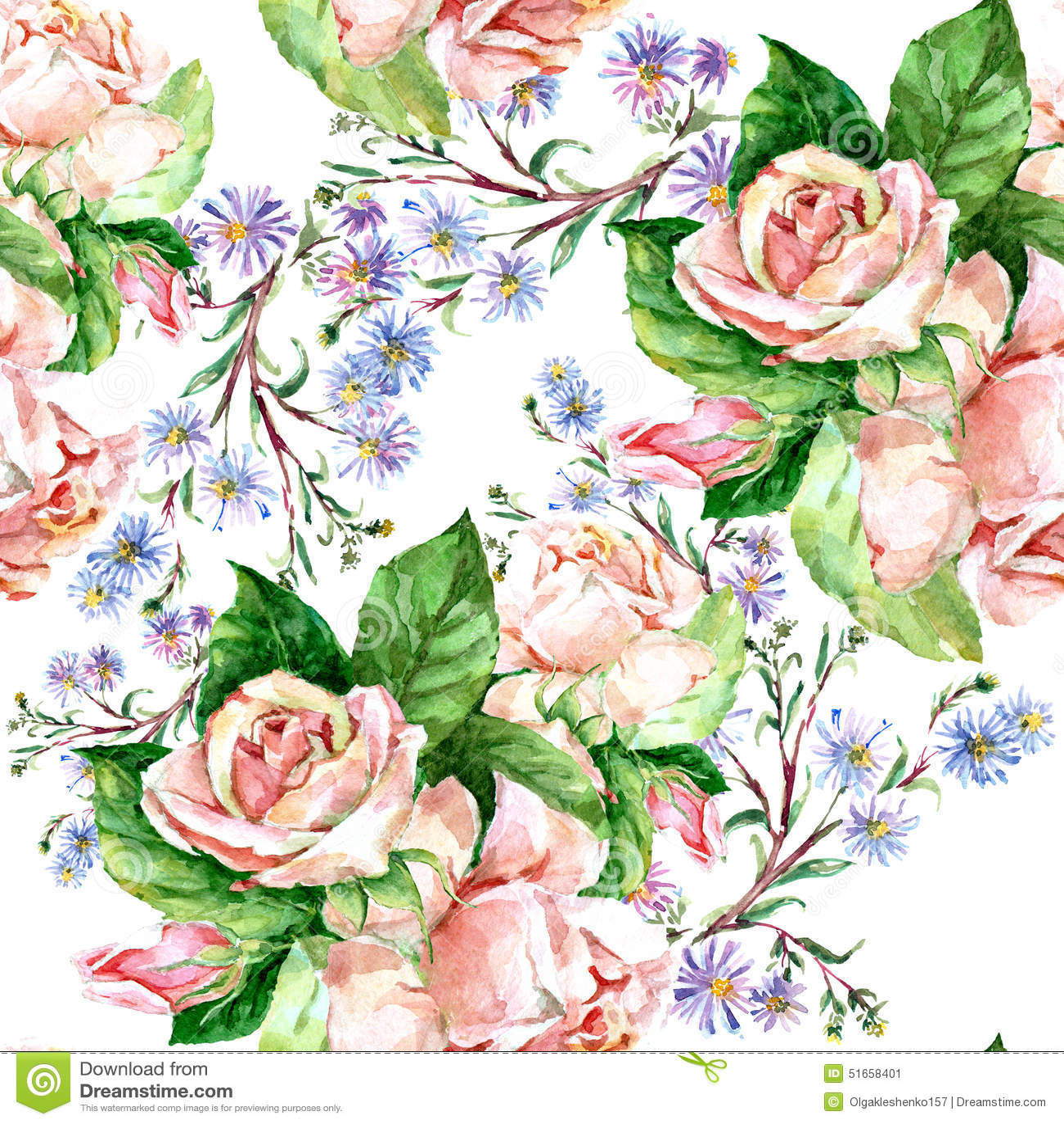 blaue blumen und rosen aquarell stock abbildung bild 51658401. Black Bedroom Furniture Sets. Home Design Ideas
