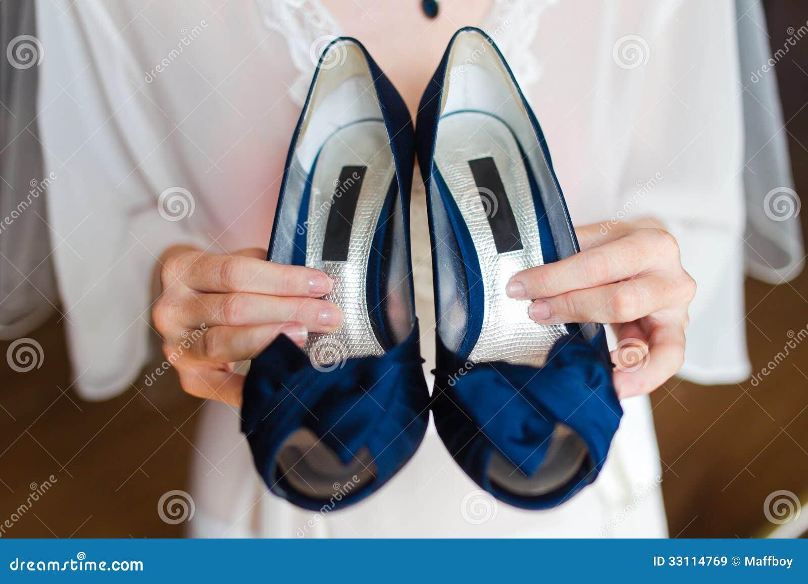 Blaue Brautschuhe Stockfoto Bild Von Verpflichtung Eleganz 33256074