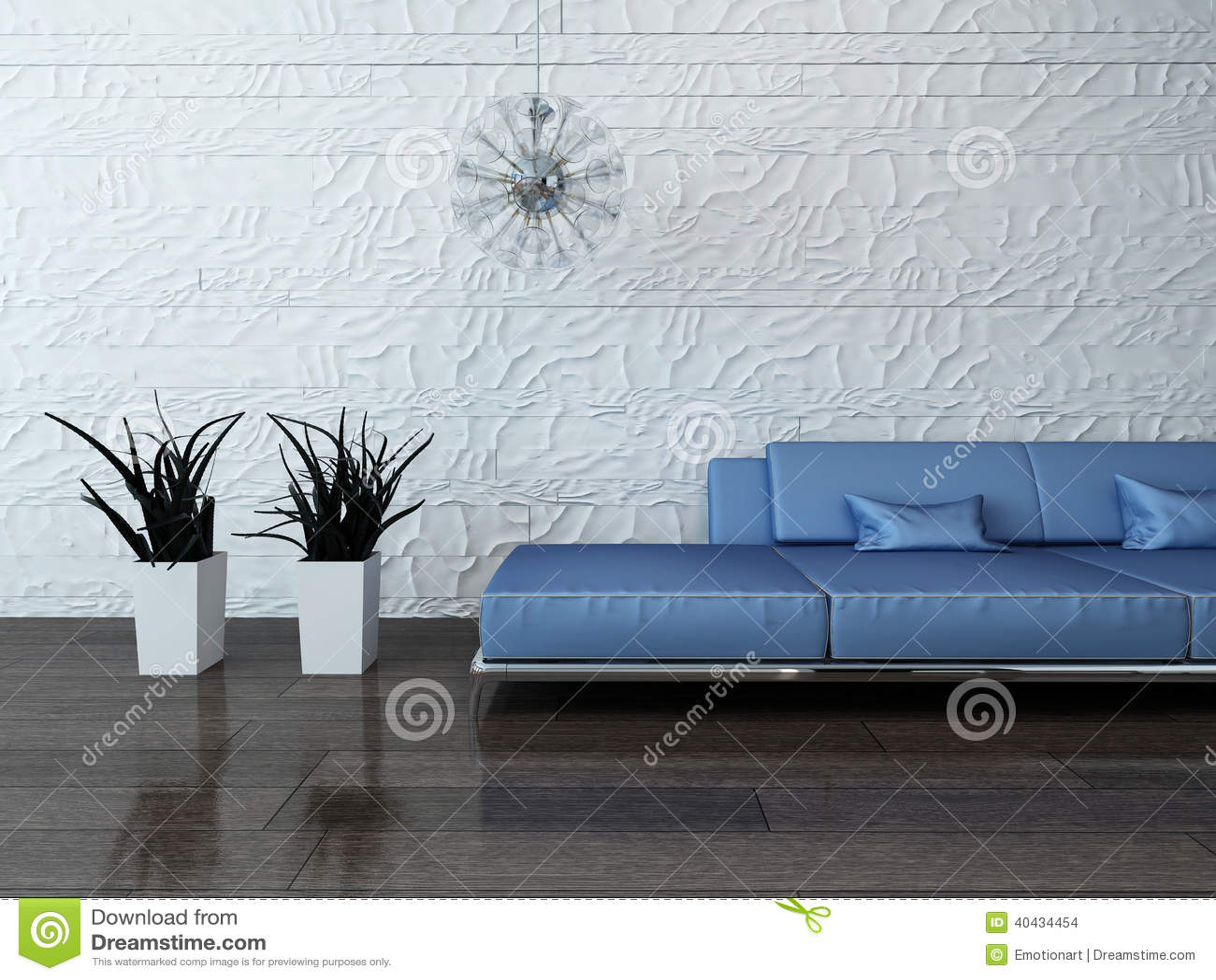 Blaue Couch Gegen Steinwand Stock Abbildung Illustration Von Innen