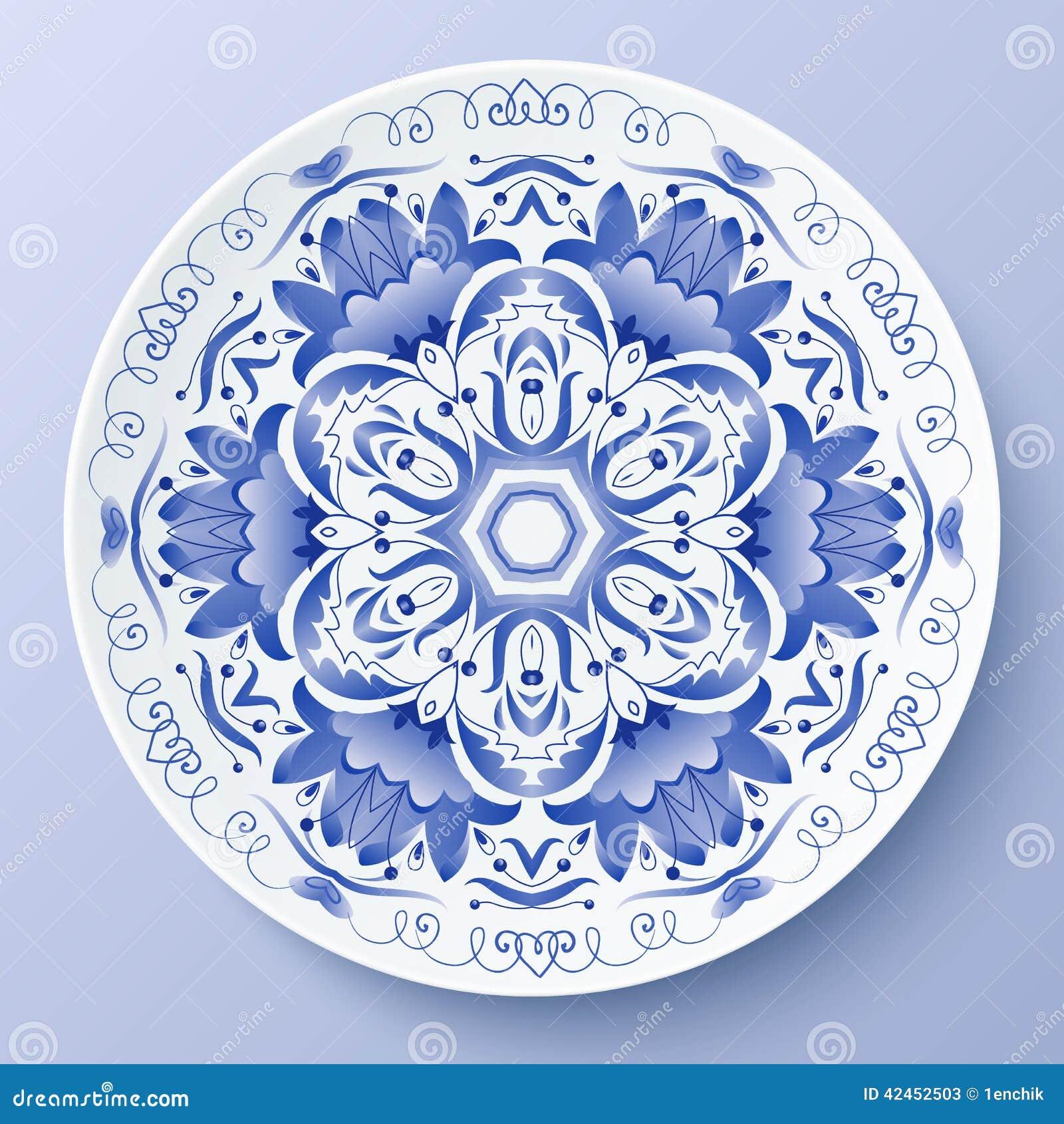 Blaue dekorative Platte der Vektorblumenverzierung