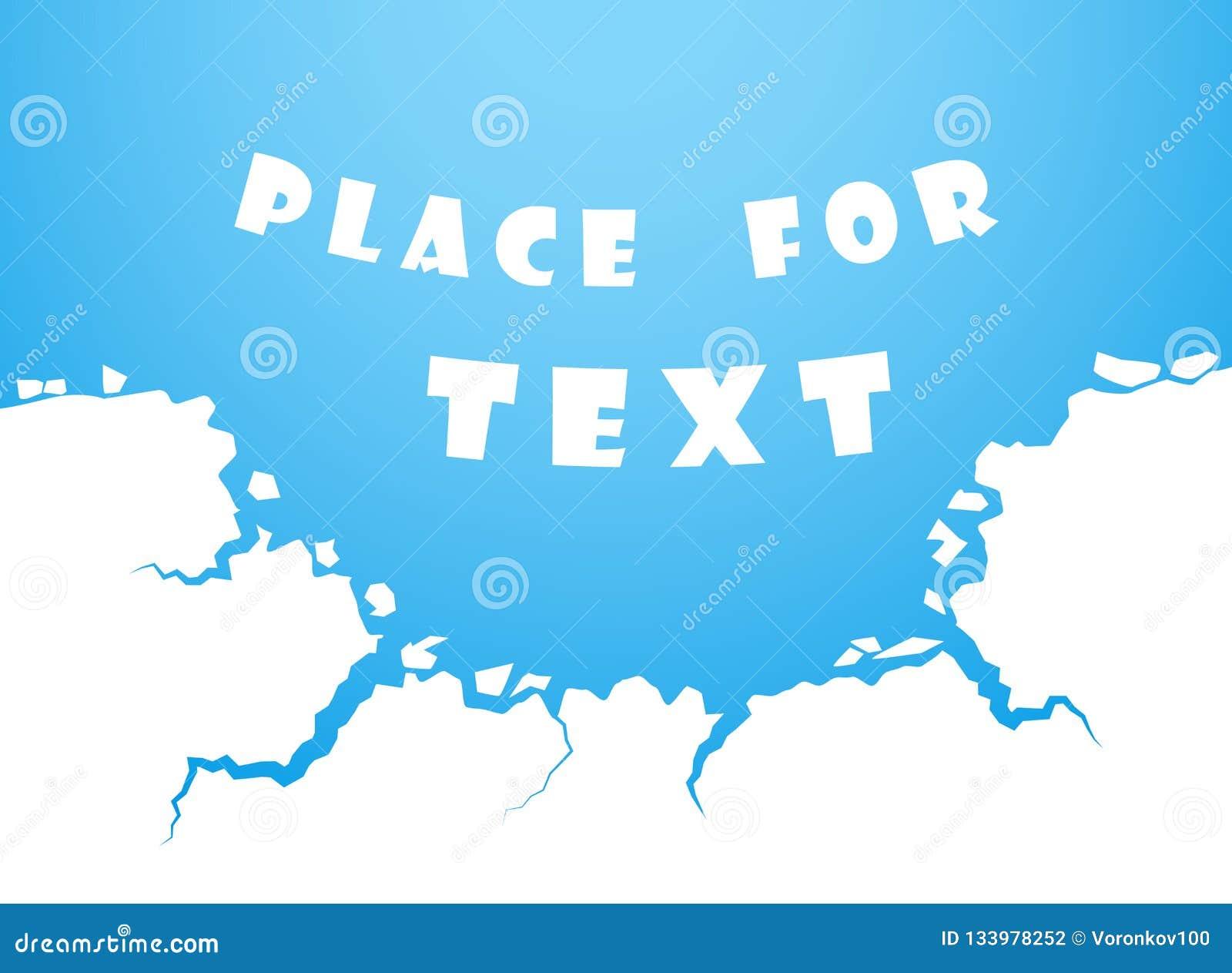 Blaue Eissprünge, Wasser Die Zerstörung, der Abgrund Raum für das Text Vektorelement lokalisiert auf weißem Hintergrund