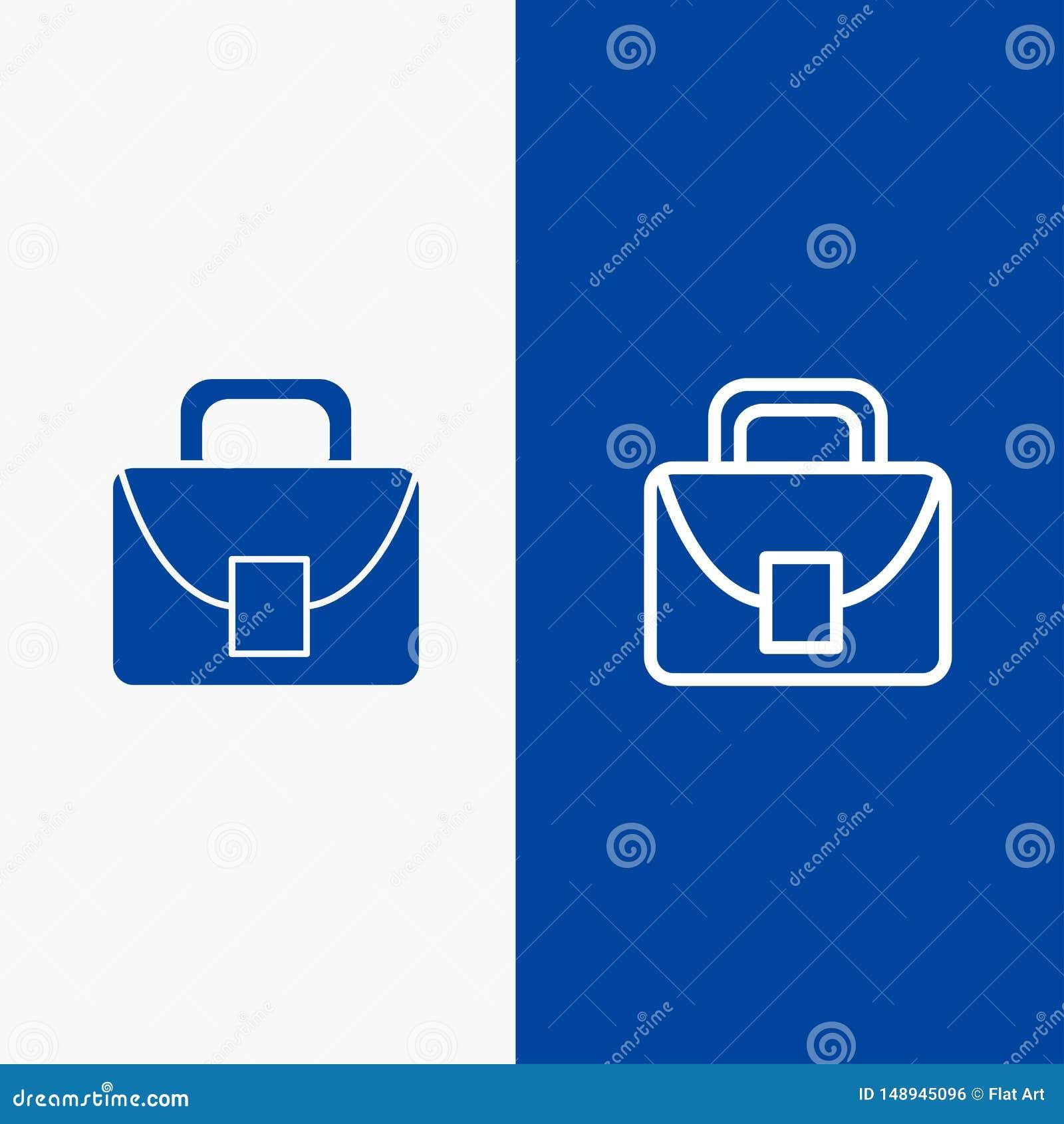Blaue Fahne der blauen Fahne der Arbeitskraft, logistischer, globaler der Linie und des Glyph festen der Ikone der Tasche, Ikone