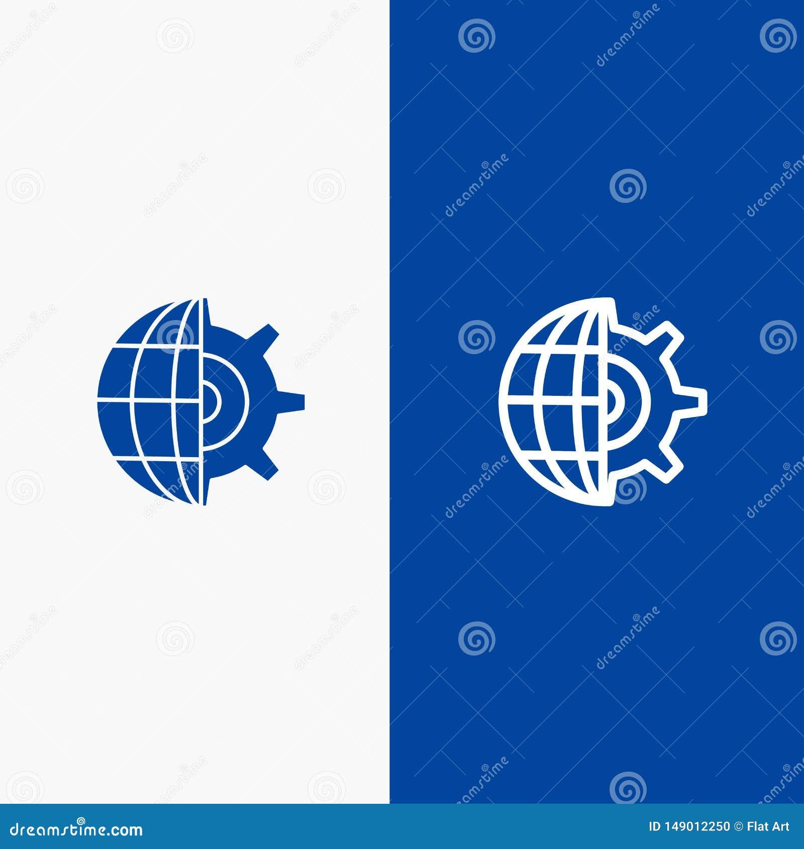 Blaue Fahne der blauen Fahne der festen Ikone des Gangs, der Kugel, der Einstellung, des Geschäftszweiges und des Glyph Ikone Lin