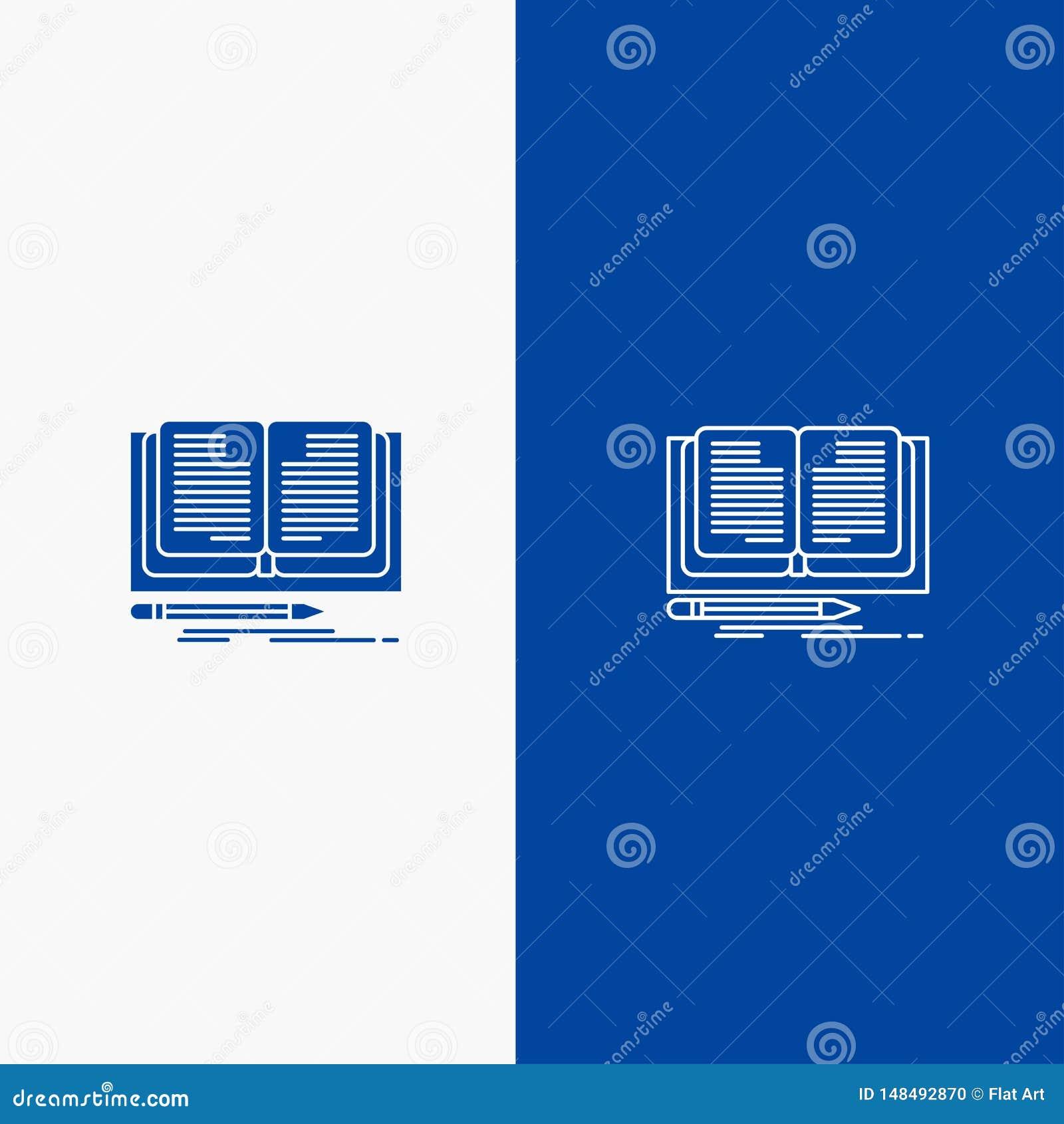Blaue Fahne der blauen Fahne der festen Ikone des Schreibens, des Romans, des Buches, der Handlung und des Glyph Ikone Linie und