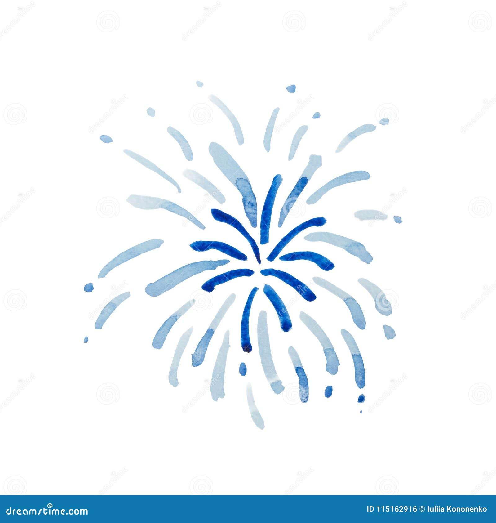 Blaue Feuerwerke lokalisiert auf weißem Hintergrund