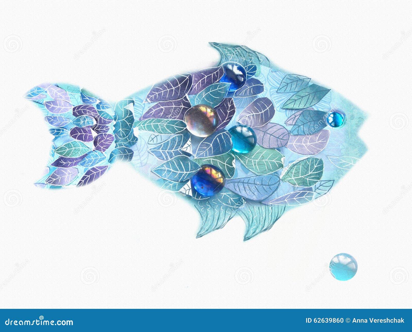 Blaue Fische Der Kunst Mit Skalen Als Blätter Hand Gezeichnete ...