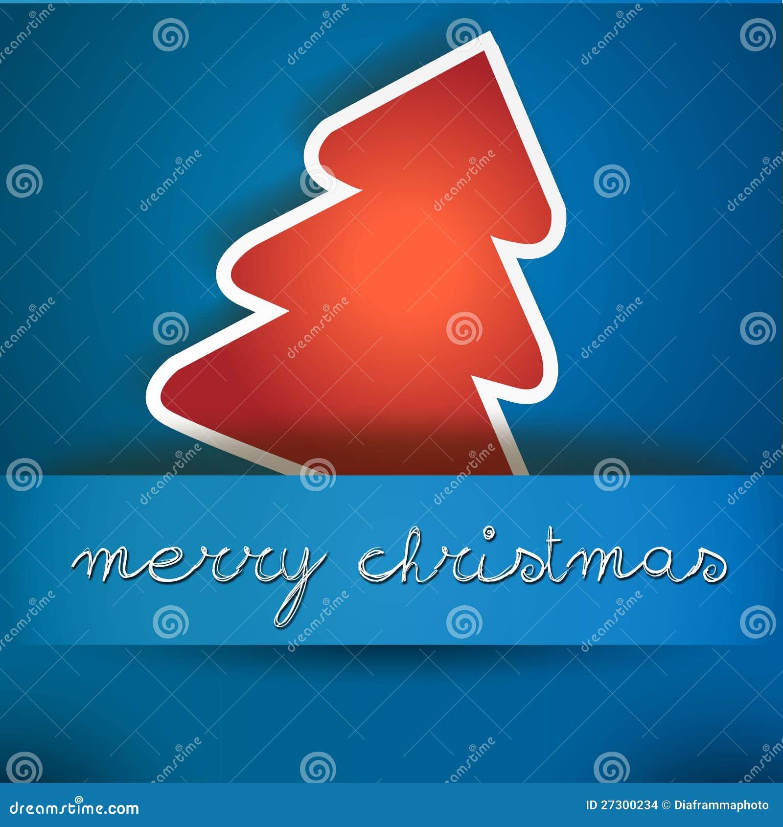 Blaue Frohe Weihnacht-Karte Mit Rotem Baum Vektor Abbildung ...
