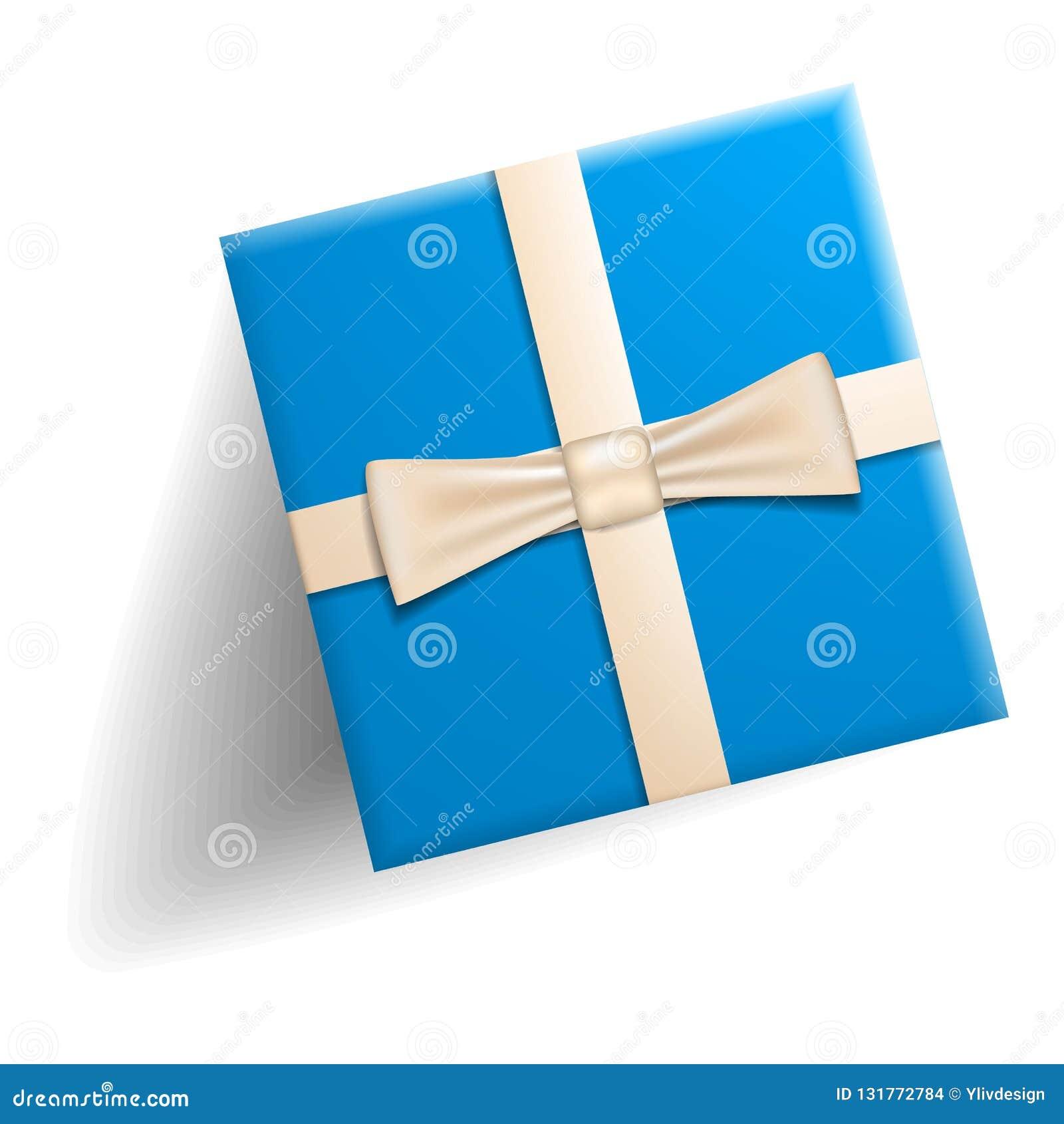 Blaue Geschenkboxikone, realistische Art