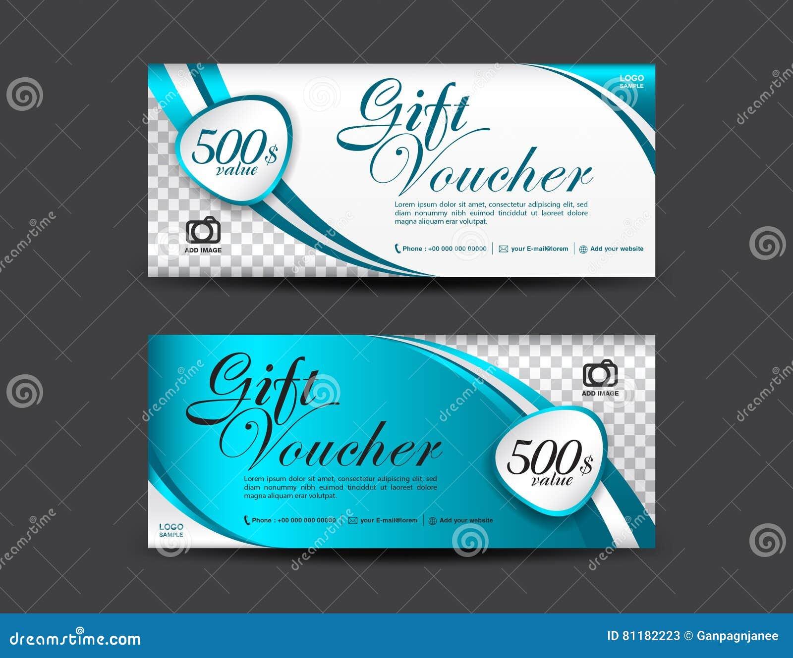 Blaue Geschenkgutscheinschablone, Kupondesign, Gutschein Vektor ...