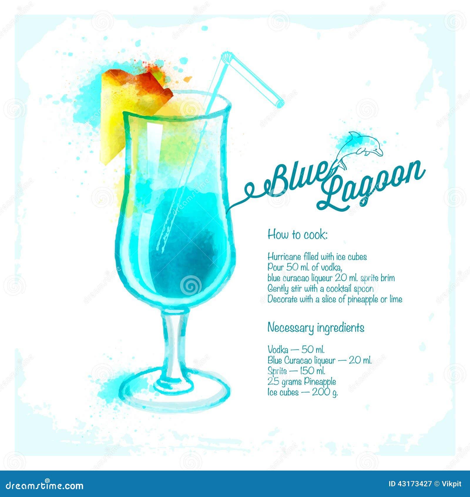 Blue lagoon cocktail rezept  Blaue Gezeichnetes Aquarell Der Lagune Cocktails Vektor Abbildung ...