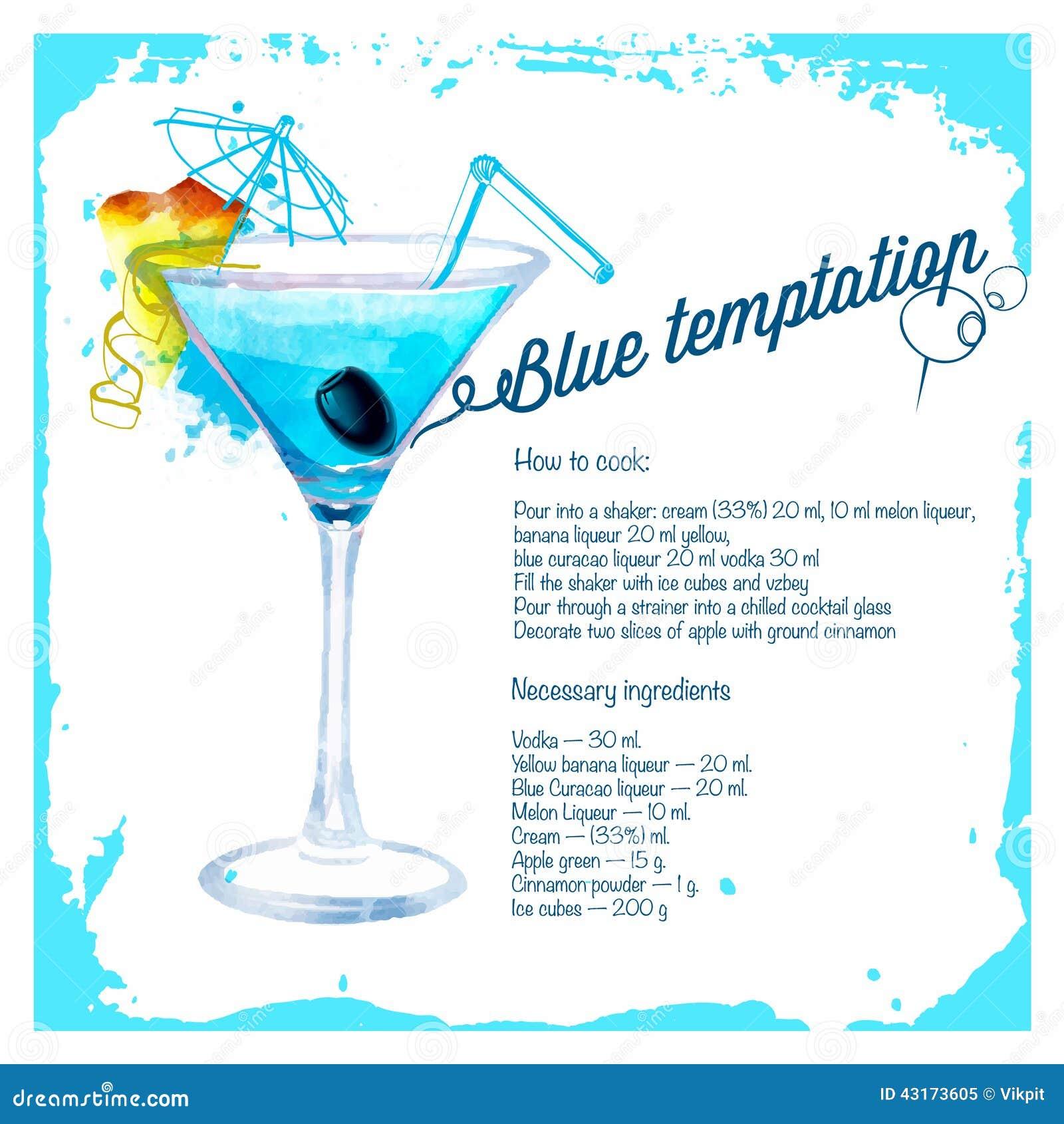 Blaue gezeichnetes aquarell der versuchung cocktails vektor abbildung bild 43173605 - De scandinavische cocktail ...
