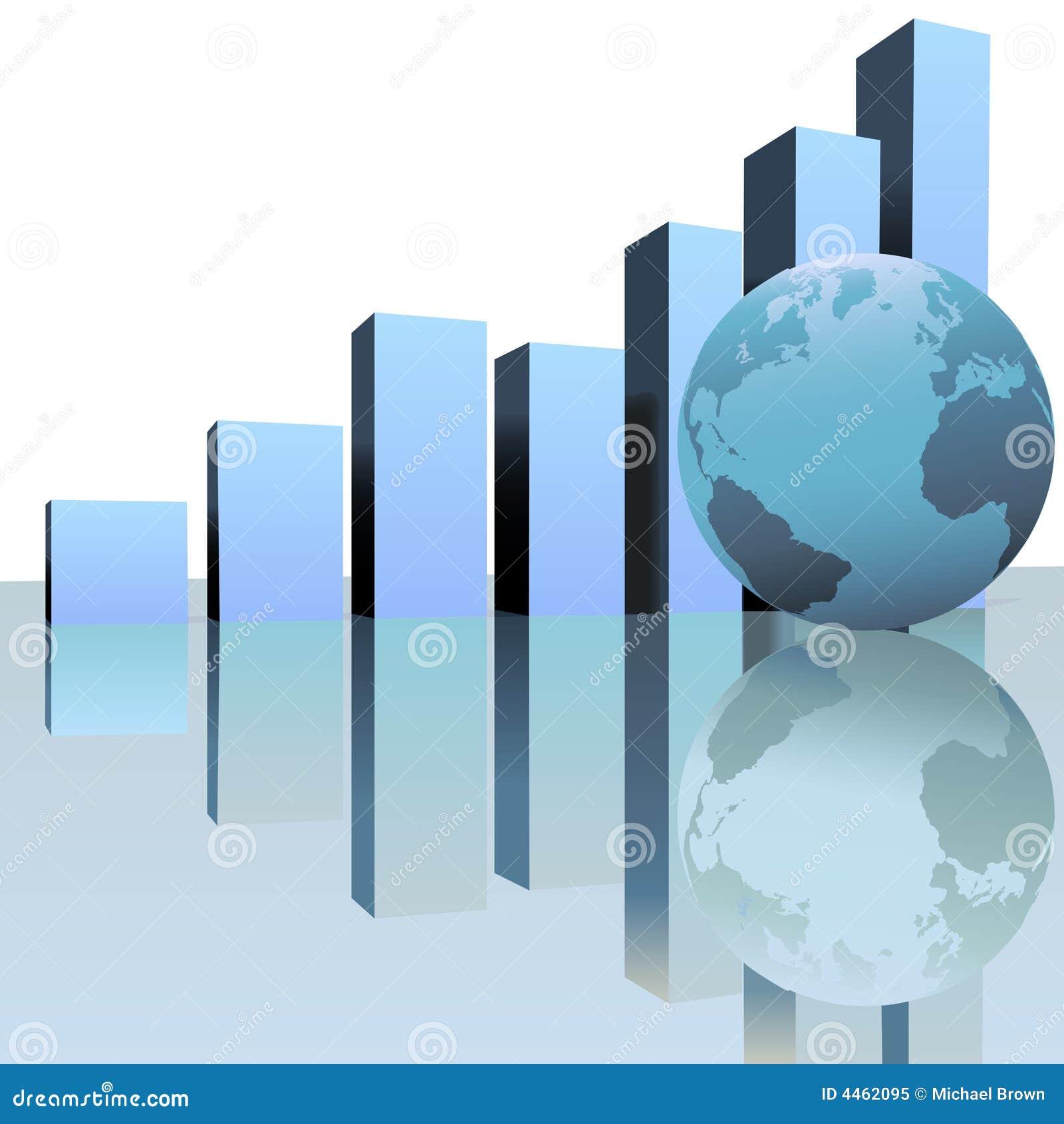 blaue globale profit wachstum diagramme mit weltkugel. Black Bedroom Furniture Sets. Home Design Ideas