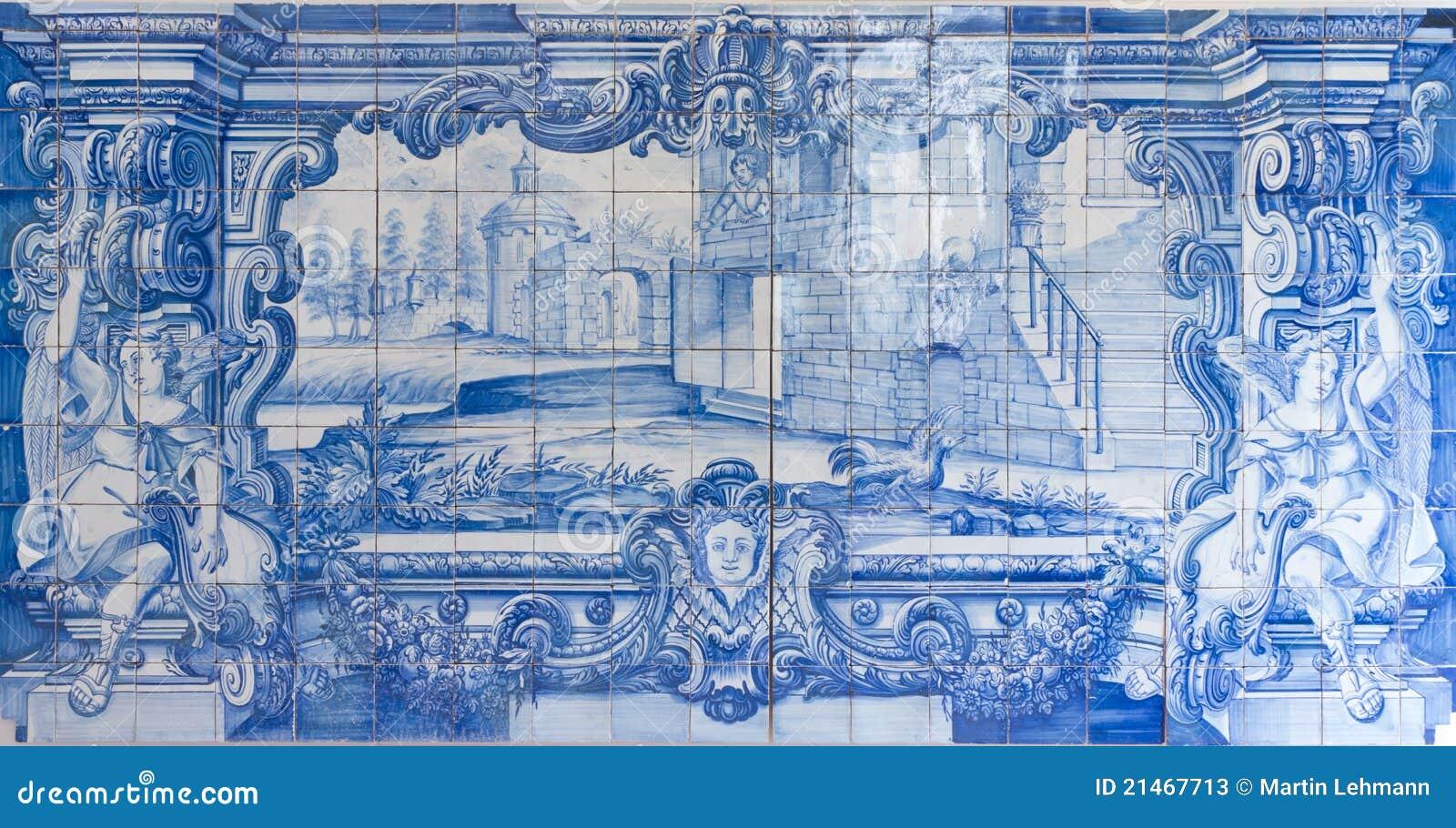 blaue handgemalte fliesen azulejos stockbild bild 21467713. Black Bedroom Furniture Sets. Home Design Ideas
