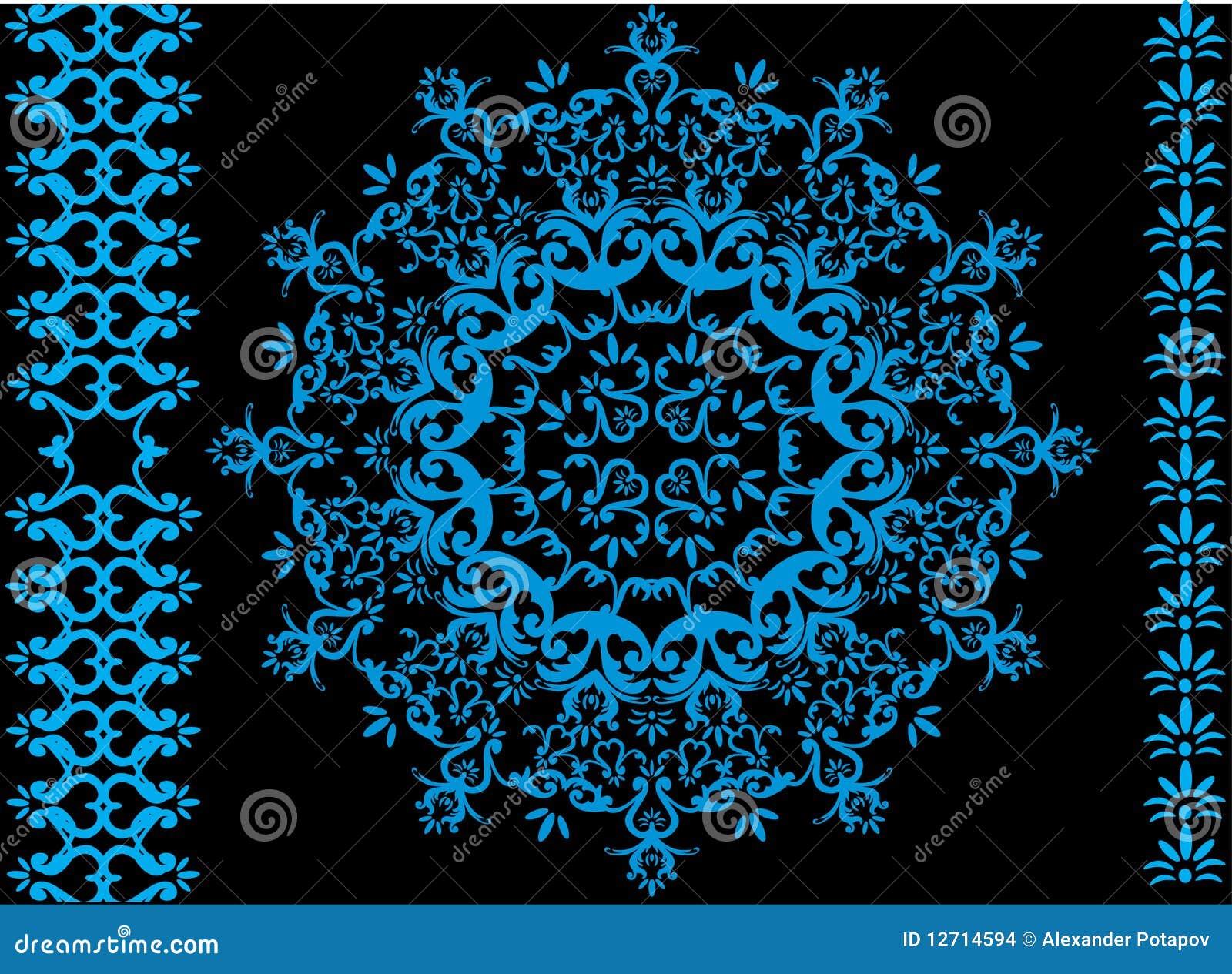 Blaue Kreisdekoration auf schwarzem Hintergrund