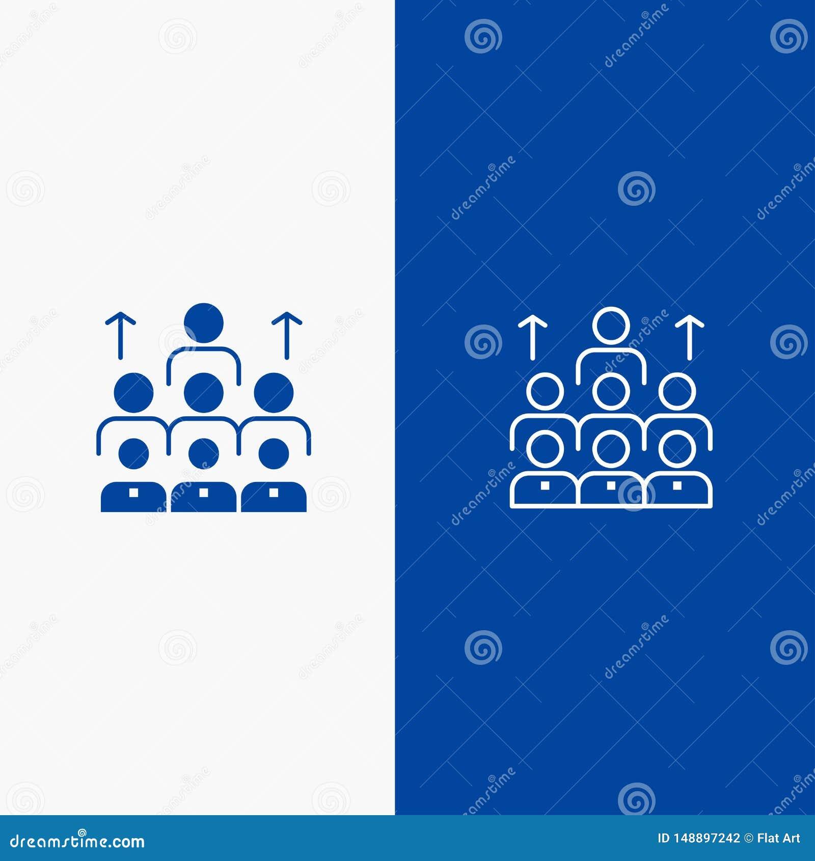 Blaue Linie Fahne der festen Ikone der Arbeitskräfte, des Geschäfts, des Menschen, der Führung, des Managements, der Organisation