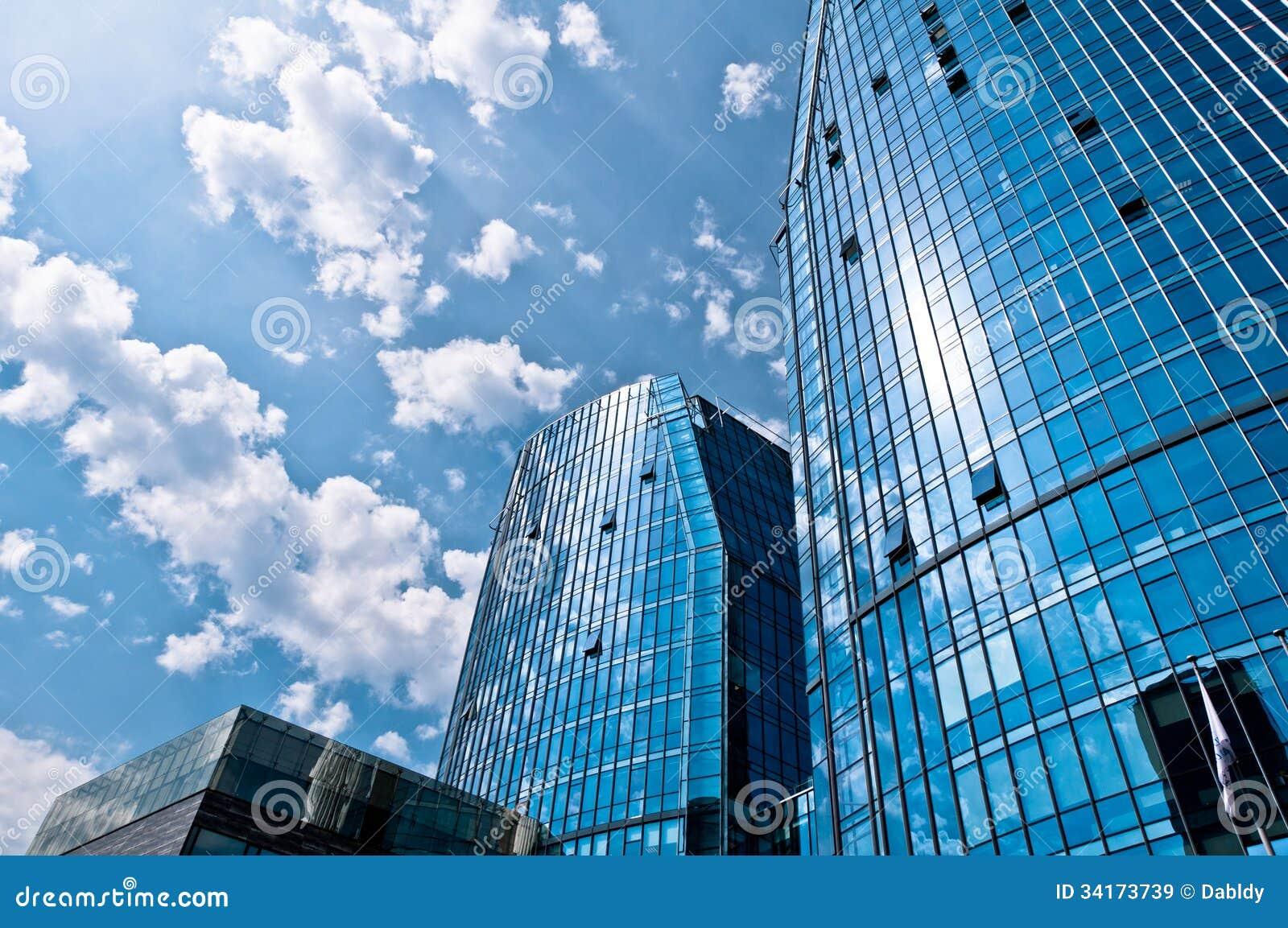 Blaue Moderne Architektur Gebaude Stockbild Bild Von Aufbau
