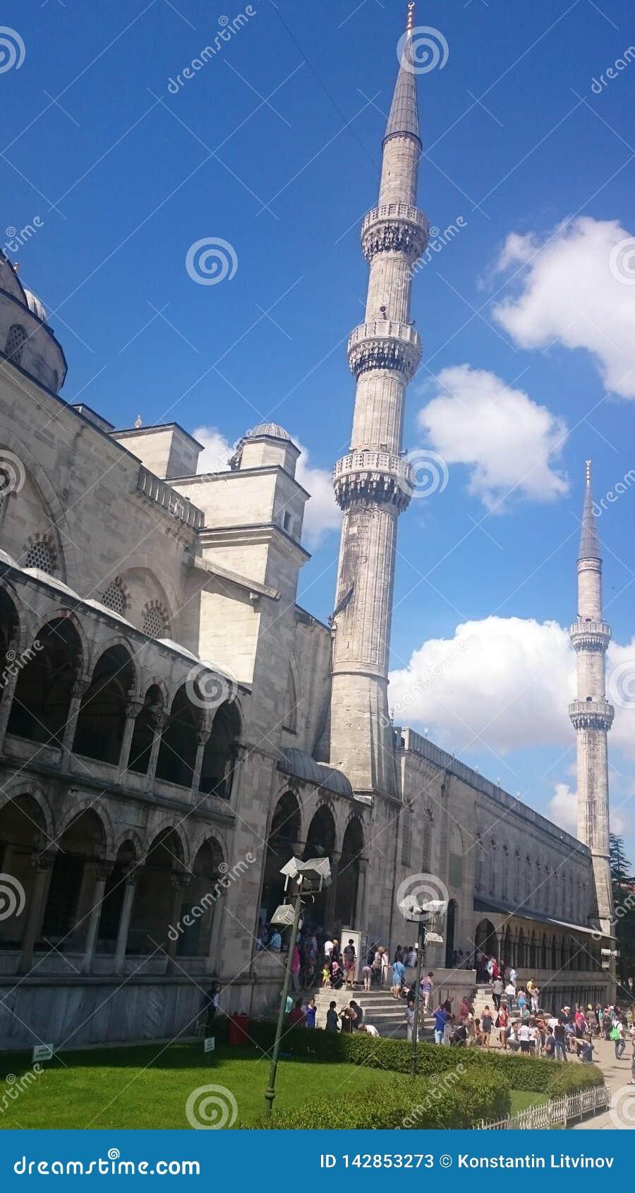 Blaue Moschee, Minarett Sultanahmet Camii, Istanbul, die Türkei