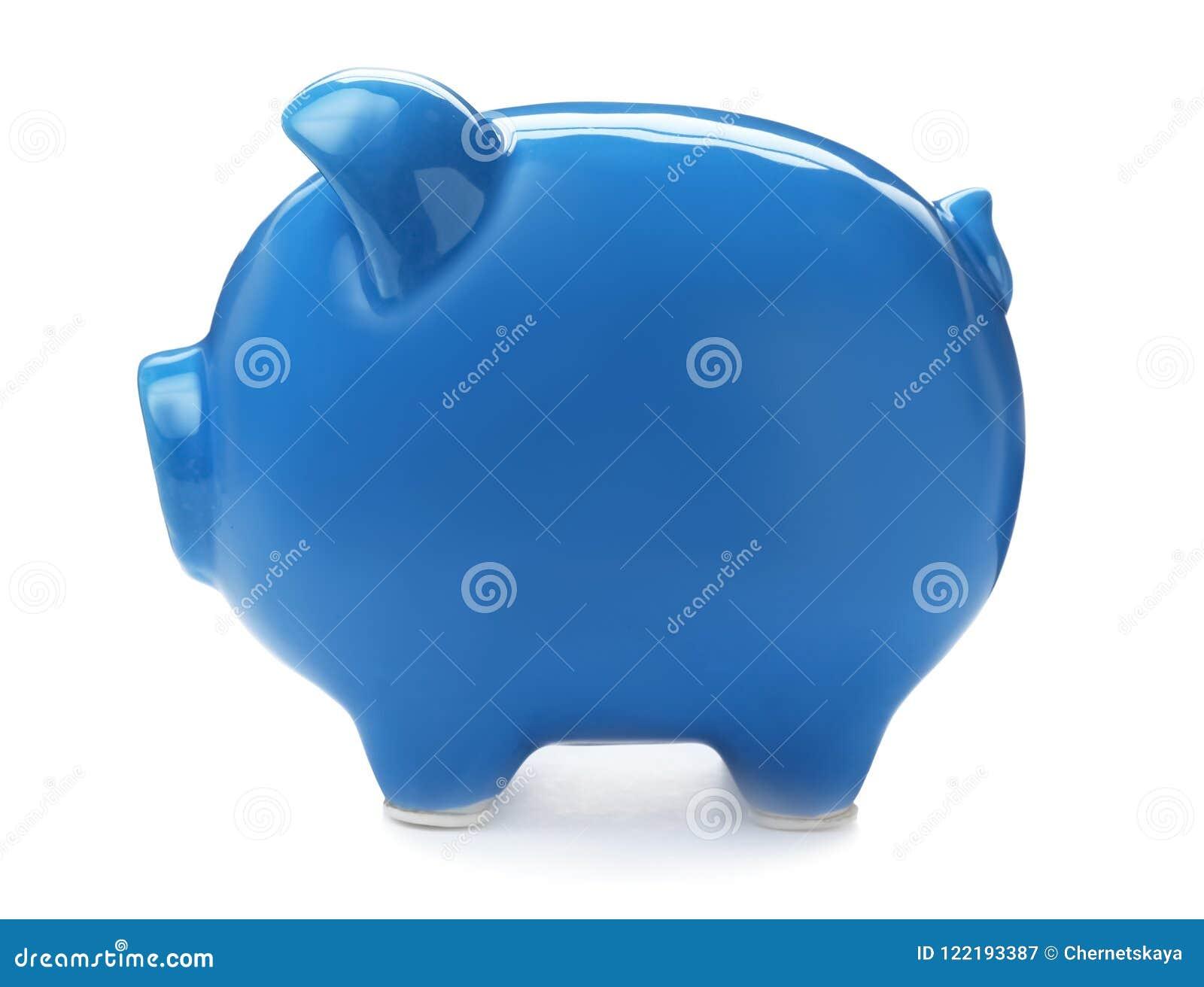 Blaue piggy Querneigung auf weißem Hintergrund