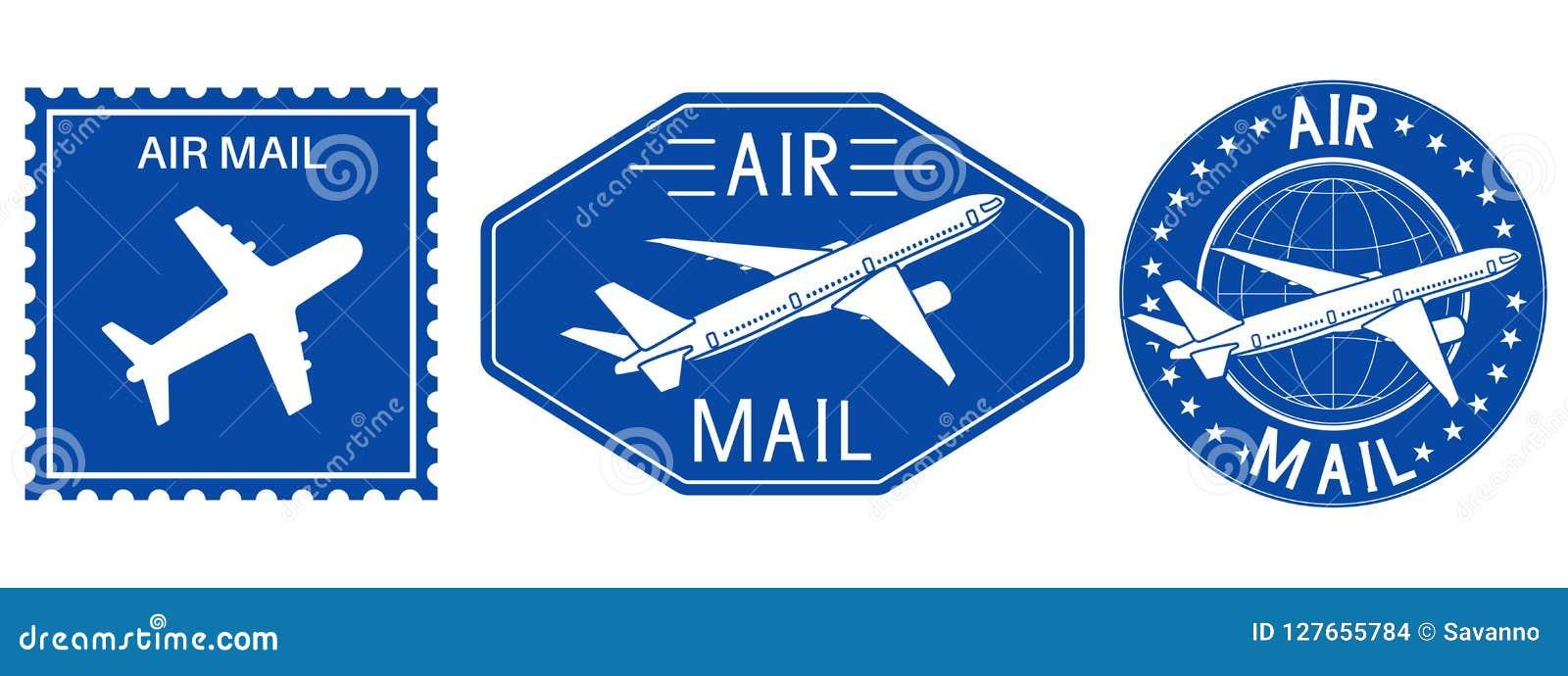 Blaue Poststempel Luftpostzeichen mit Flugzeug