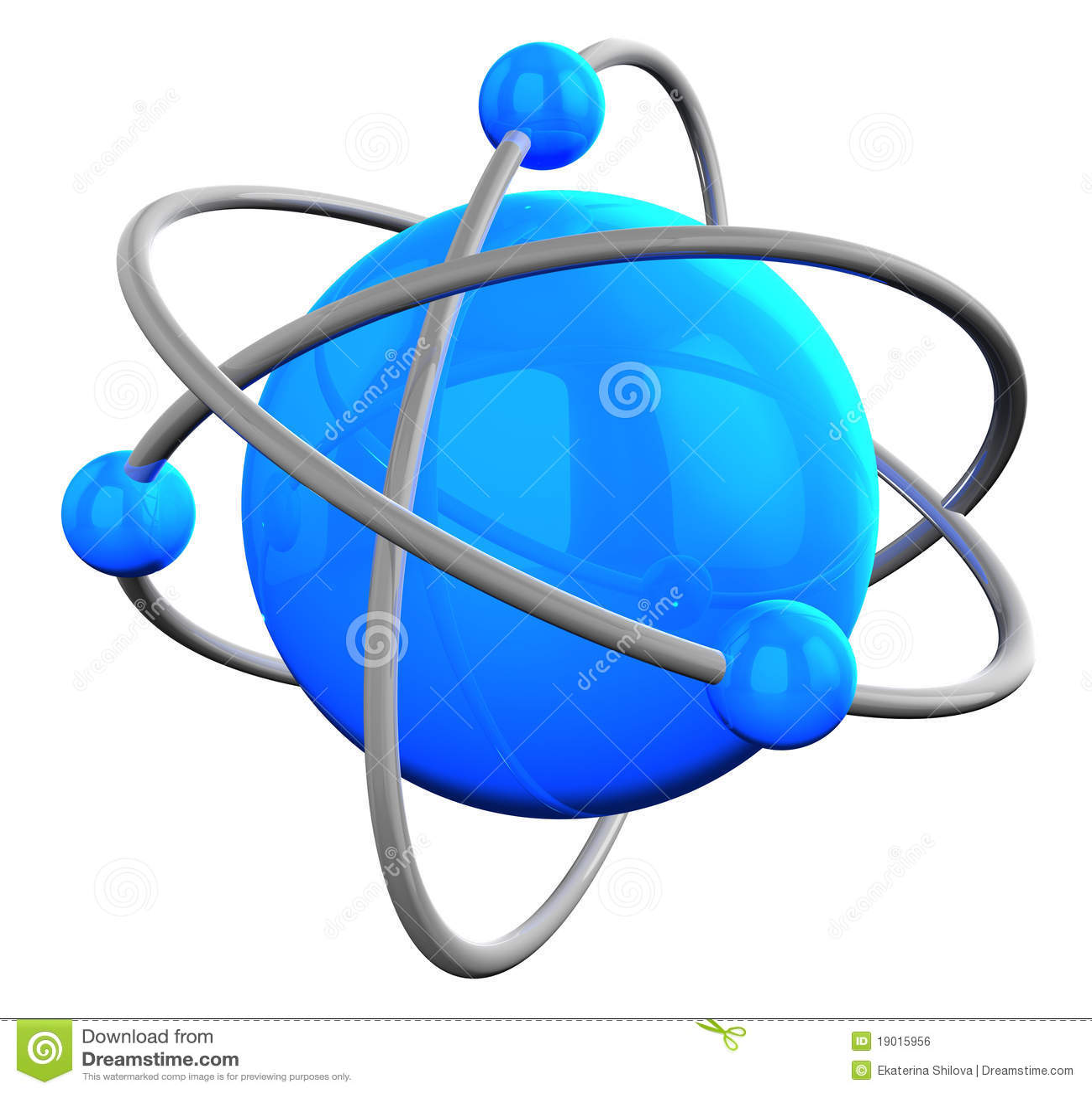 Blaue reflektierende Atomstruktur auf Weiß