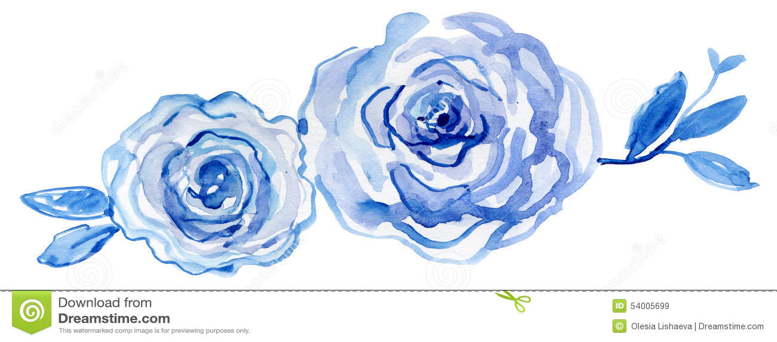 Blaue Rosen Aquarell handgemalt, Weinleseillustration