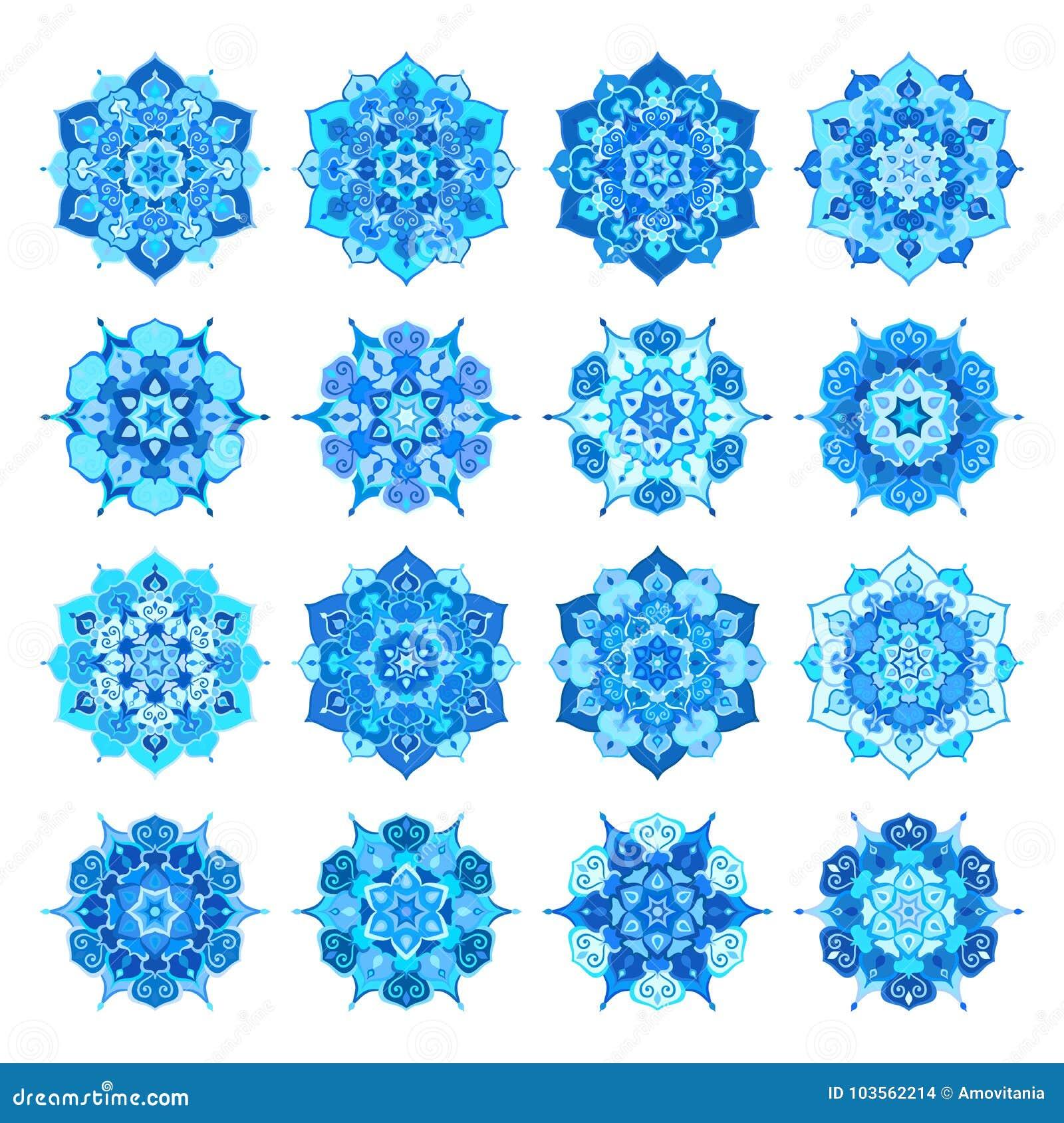 Blaue Schneeflocken-Blumen-Mandalen