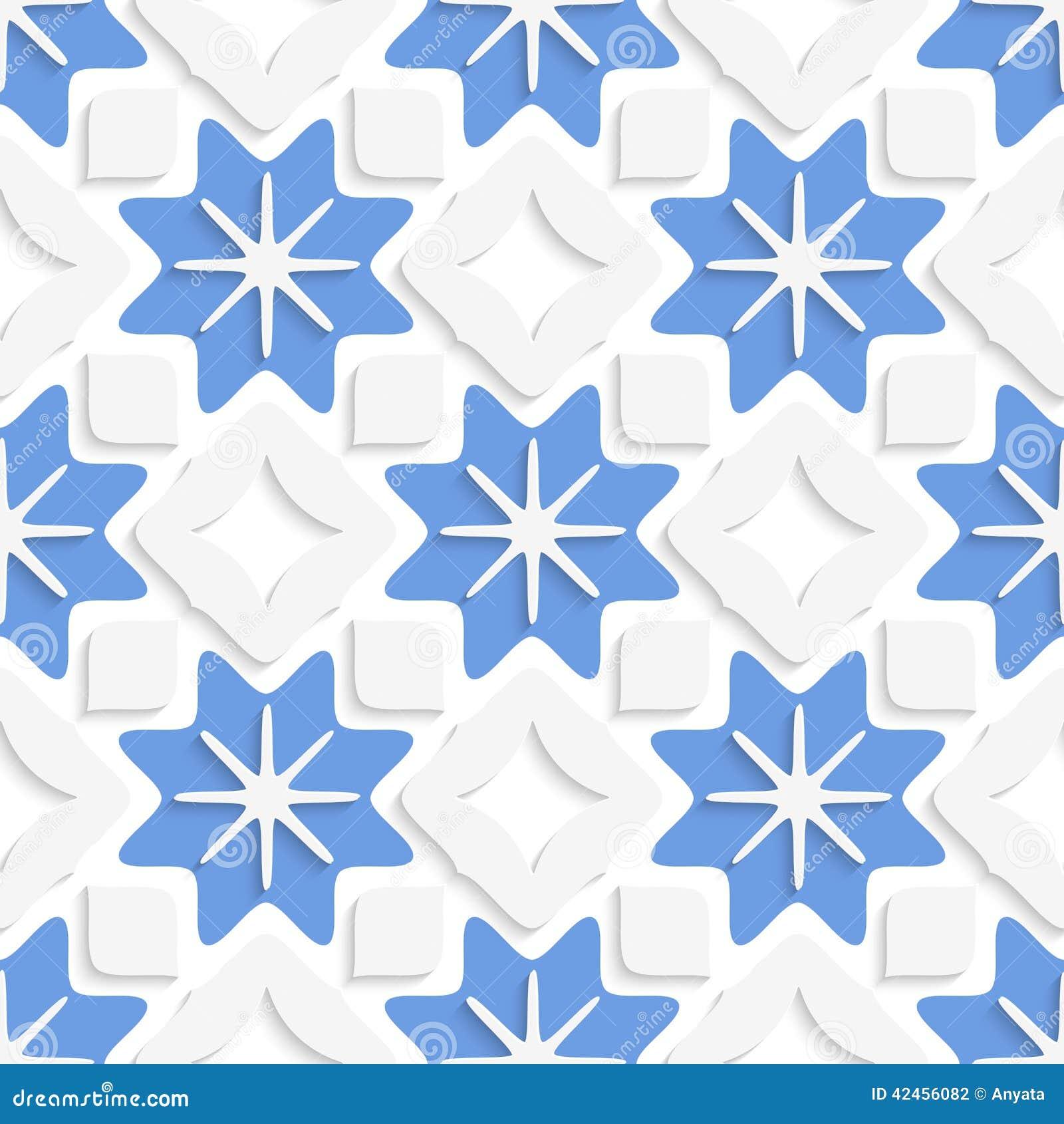 Blaue Schneeflocken und weiße Quadrate nahtlos