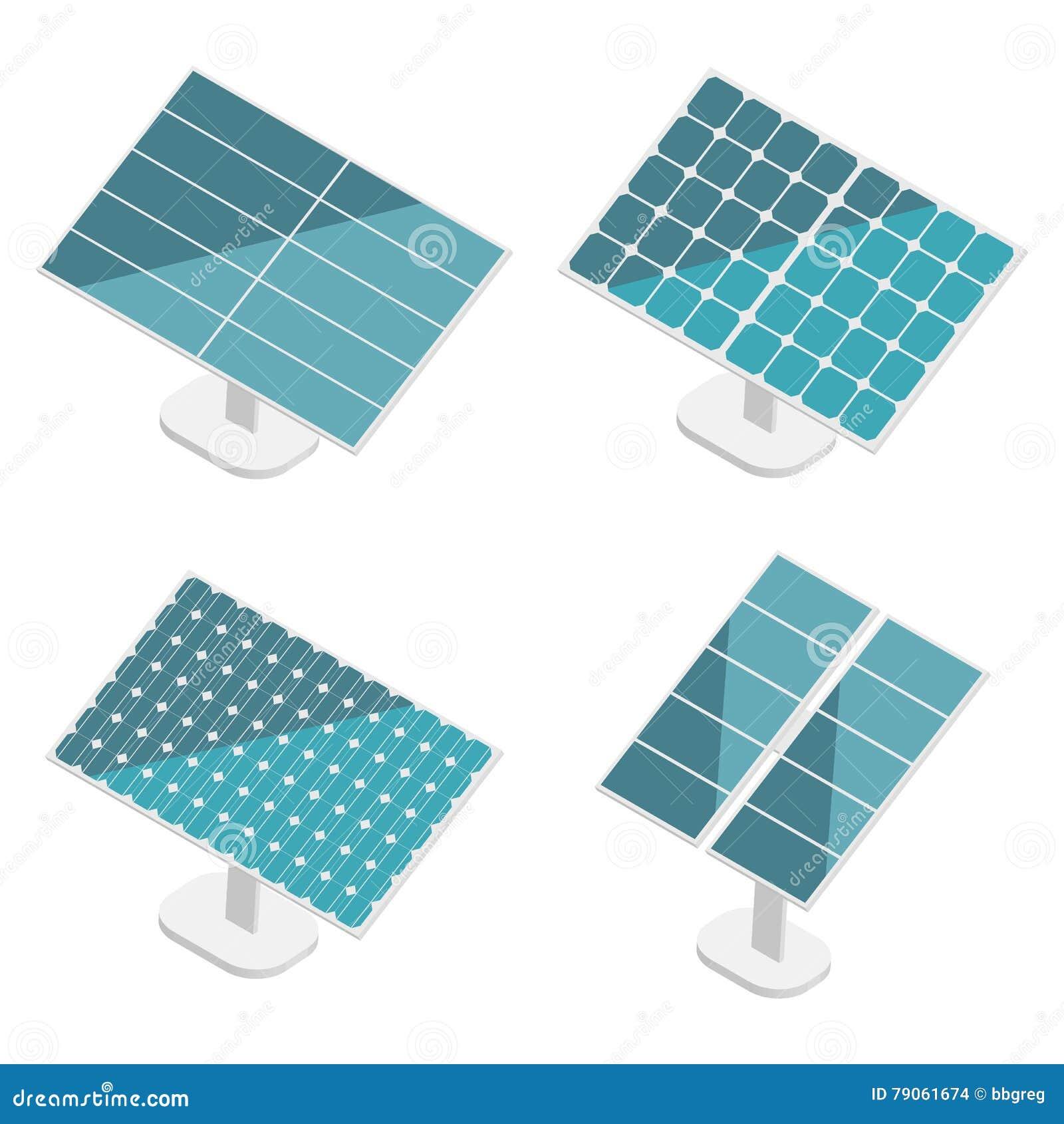 Blaue Sonnenkollektoren eingestellt Flaches isometrisches Moderne alternative Eco-Grün-Energie